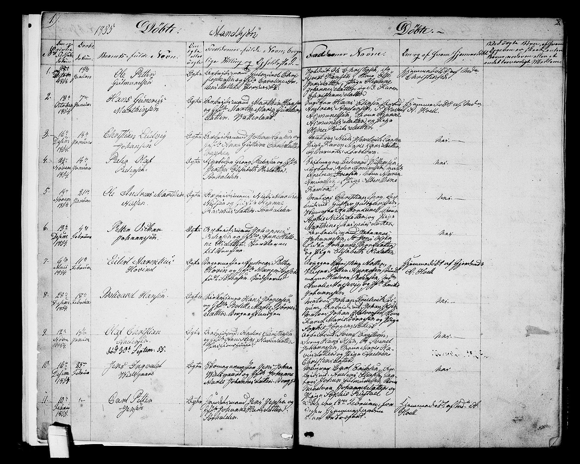 SAO, Halden prestekontor Kirkebøker, G/Ga/L0005a: Klokkerbok nr. 5A, 1855-1864, s. 1