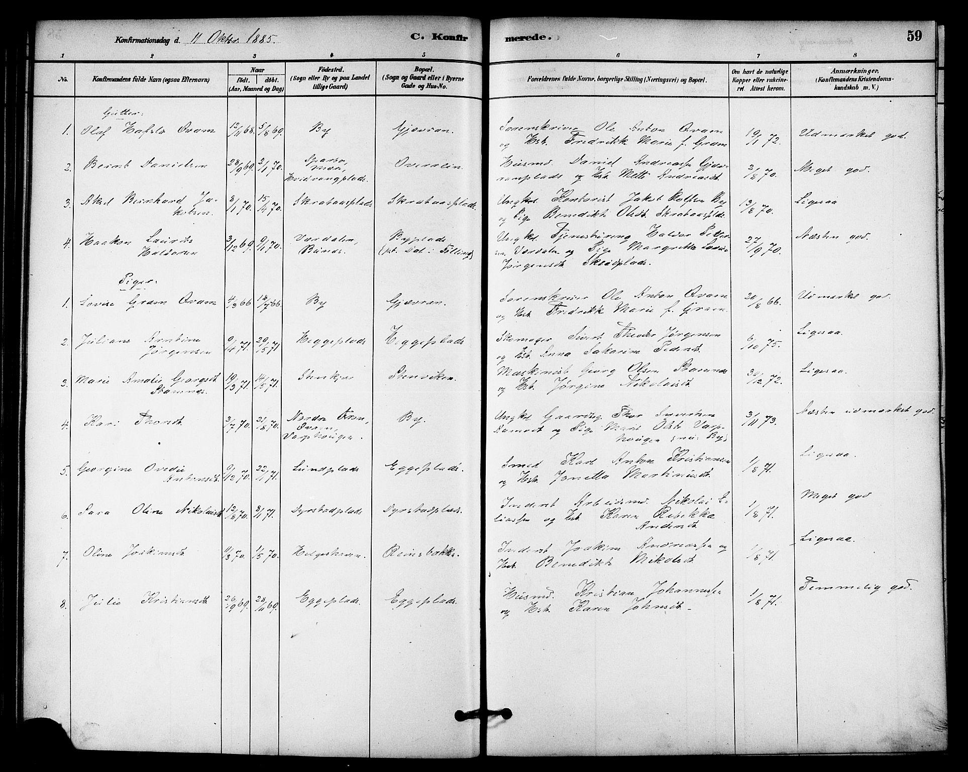 SAT, Ministerialprotokoller, klokkerbøker og fødselsregistre - Nord-Trøndelag, 740/L0378: Ministerialbok nr. 740A01, 1881-1895, s. 59