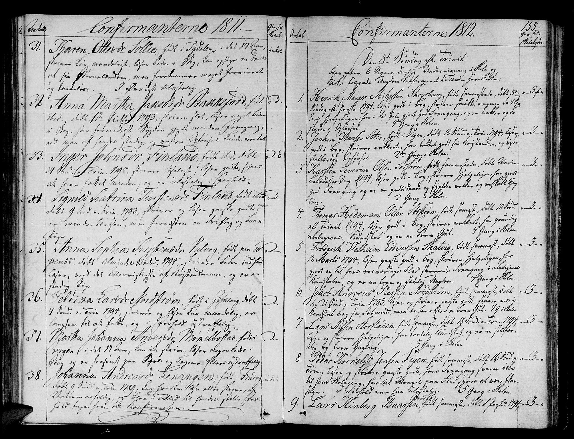 SATØ, Tranøy sokneprestkontor, I/Ia/Iaa/L0003kirke: Ministerialbok nr. 3, 1807-1820, s. 155