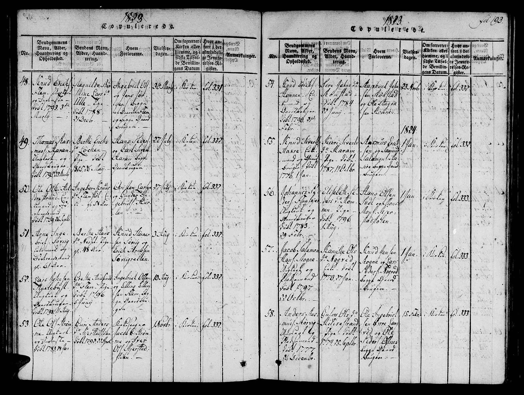 SAT, Ministerialprotokoller, klokkerbøker og fødselsregistre - Møre og Romsdal, 536/L0495: Ministerialbok nr. 536A04, 1818-1847, s. 193