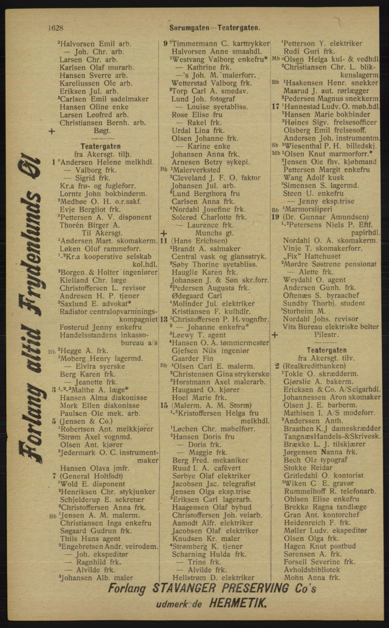 RA, Kristiania adressebok (publikasjon)*, 1913, s. 1628