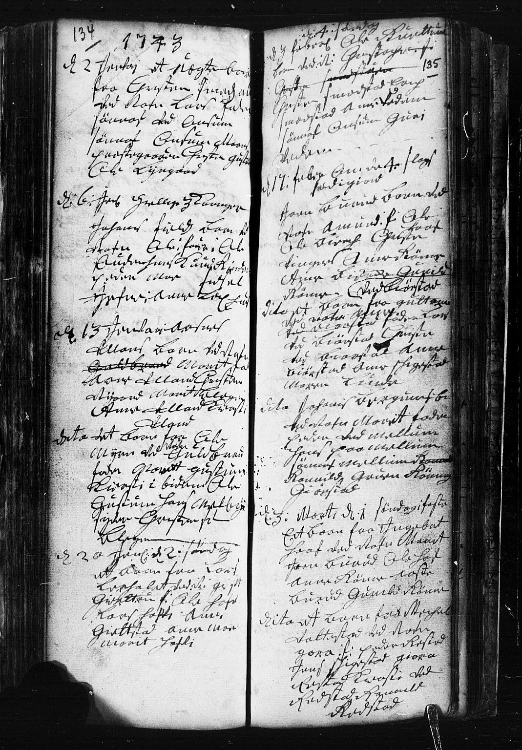 SAH, Fåberg prestekontor, Klokkerbok nr. 1, 1727-1767, s. 134-135