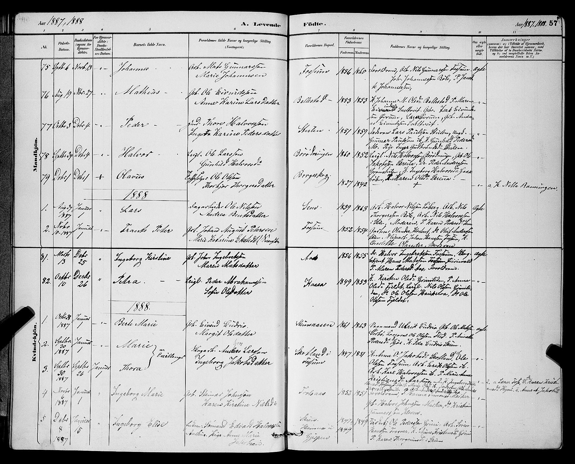 SAKO, Gjerpen kirkebøker, G/Ga/L0002: Klokkerbok nr. I 2, 1883-1900, s. 57