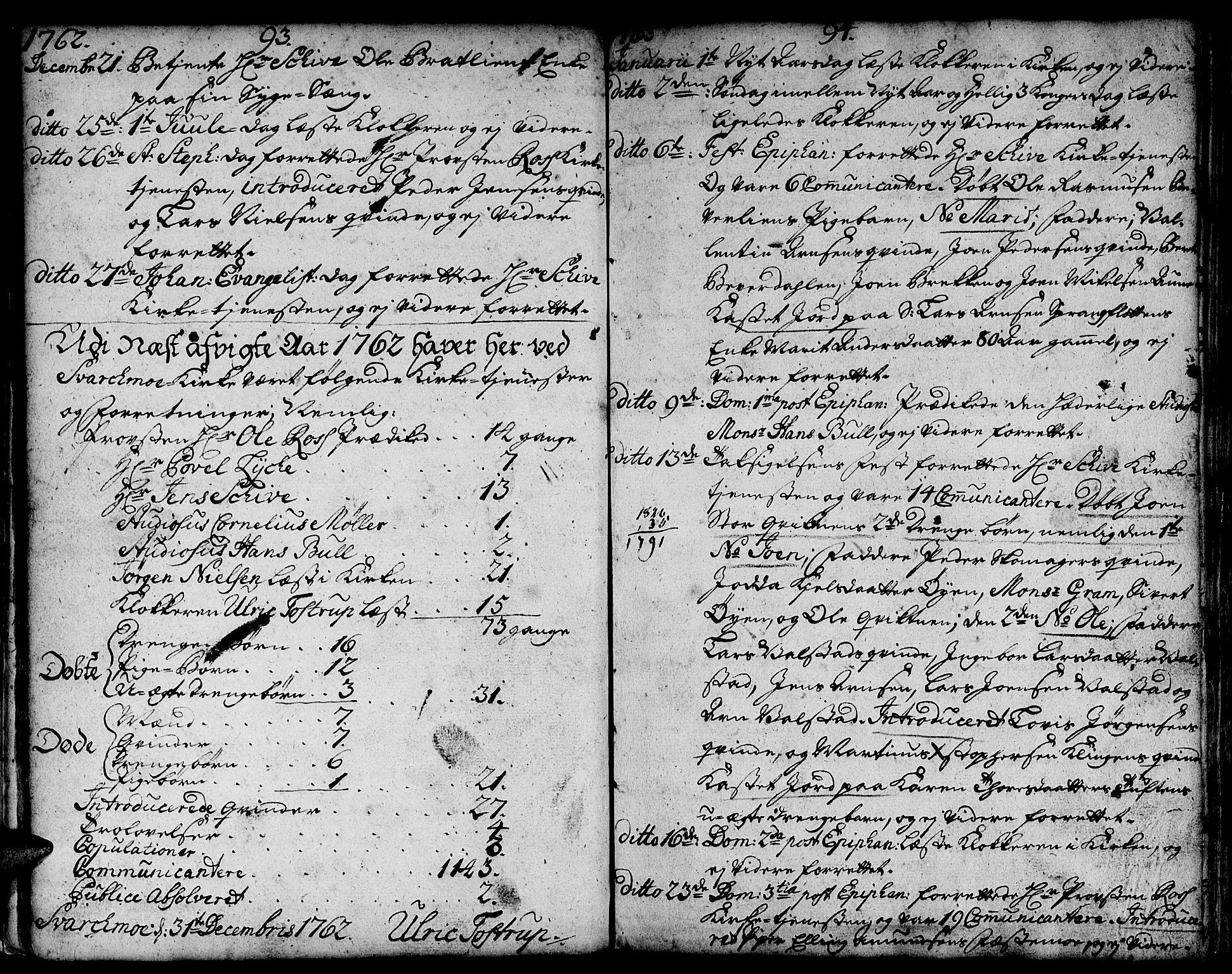 SAT, Ministerialprotokoller, klokkerbøker og fødselsregistre - Sør-Trøndelag, 671/L0840: Ministerialbok nr. 671A02, 1756-1794, s. 93-94