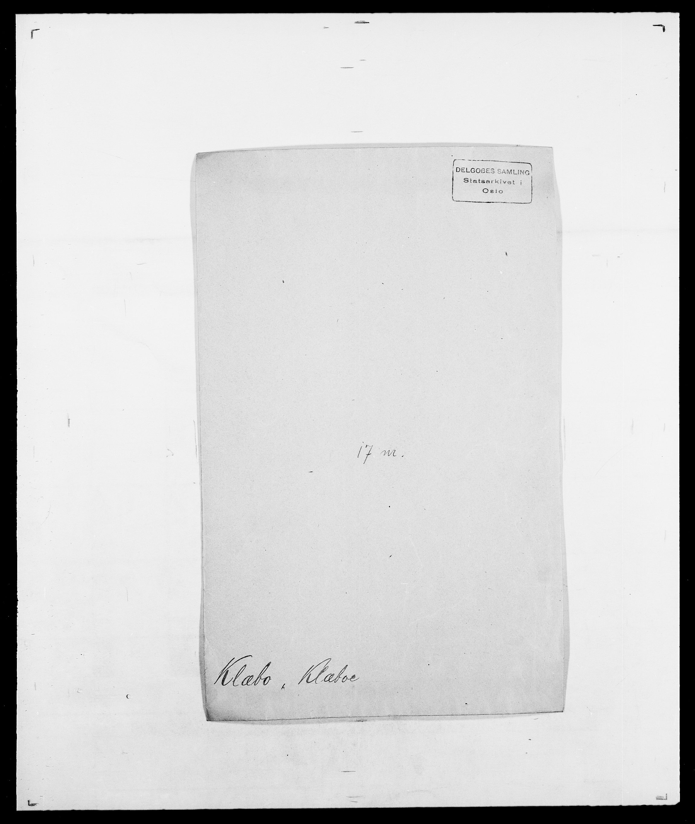 SAO, Delgobe, Charles Antoine - samling, D/Da/L0021: Klagenberg - Kristoft, s. 201