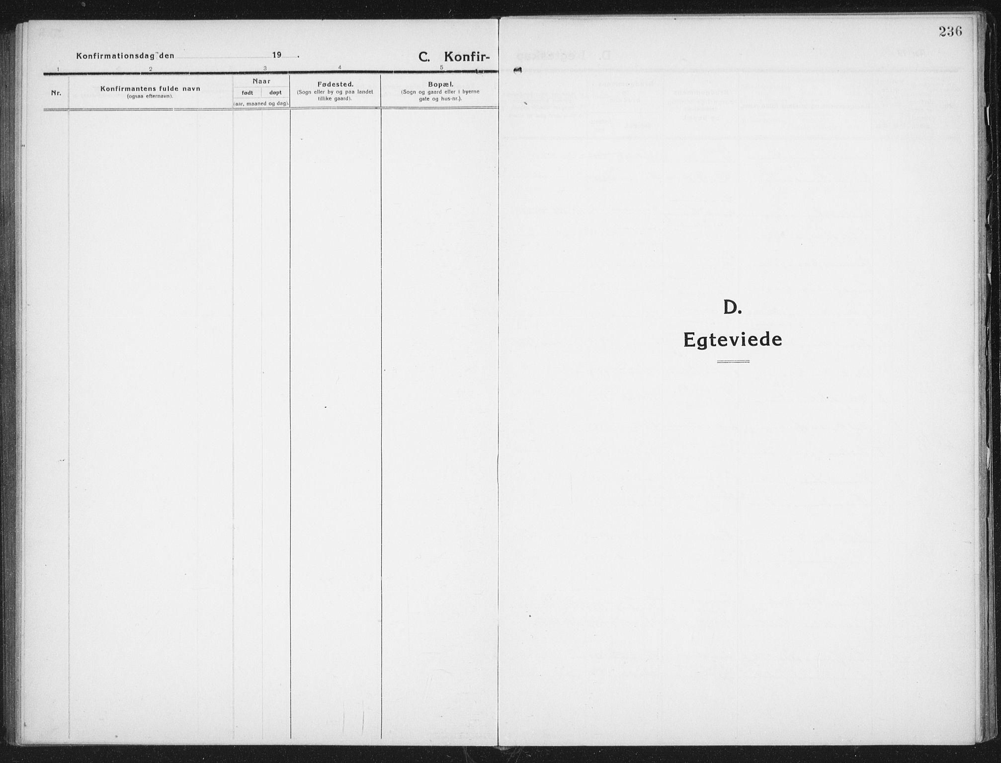 SAT, Ministerialprotokoller, klokkerbøker og fødselsregistre - Nordland, 882/L1183: Klokkerbok nr. 882C01, 1911-1938, s. 236