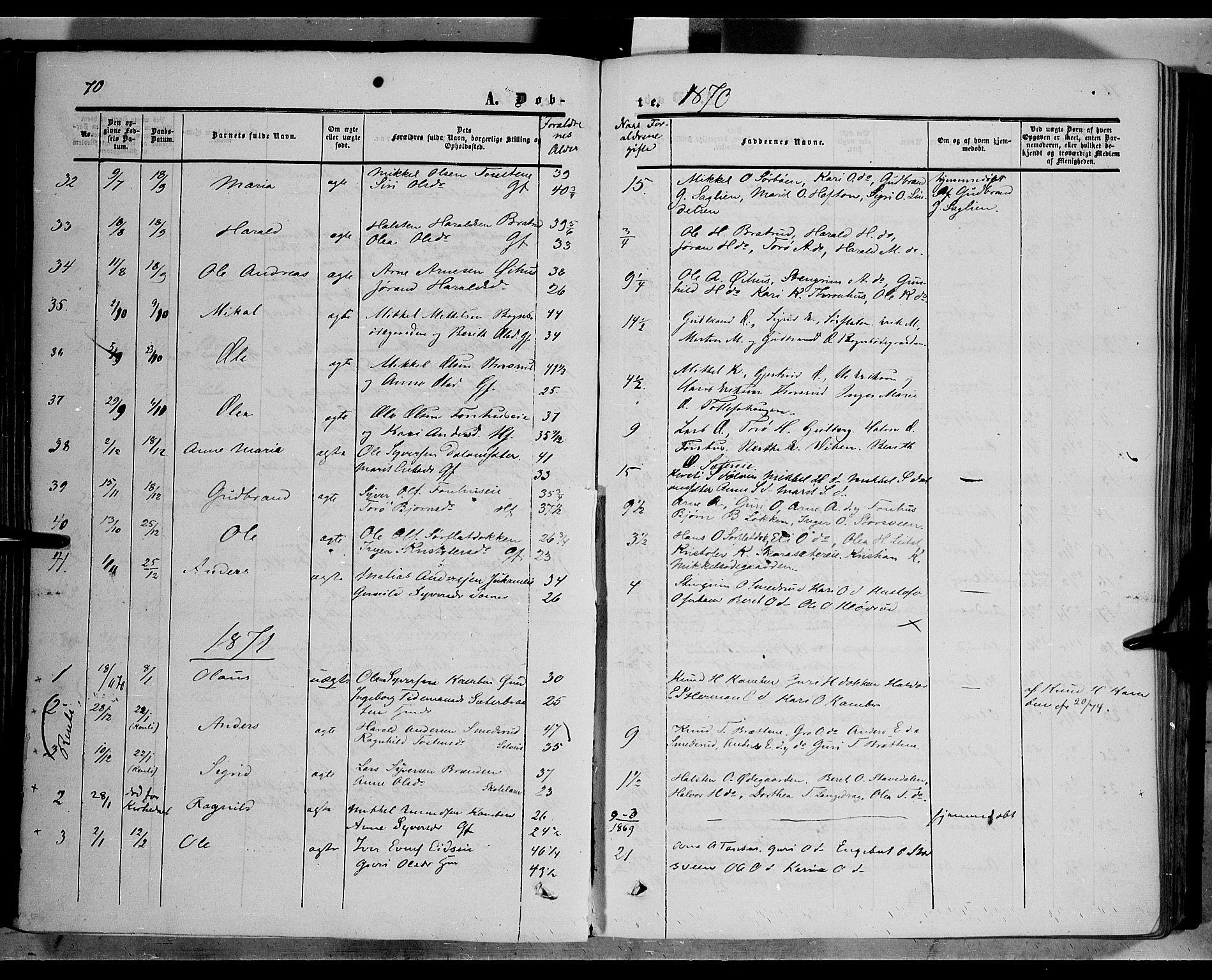 SAH, Sør-Aurdal prestekontor, Ministerialbok nr. 5, 1849-1876, s. 70
