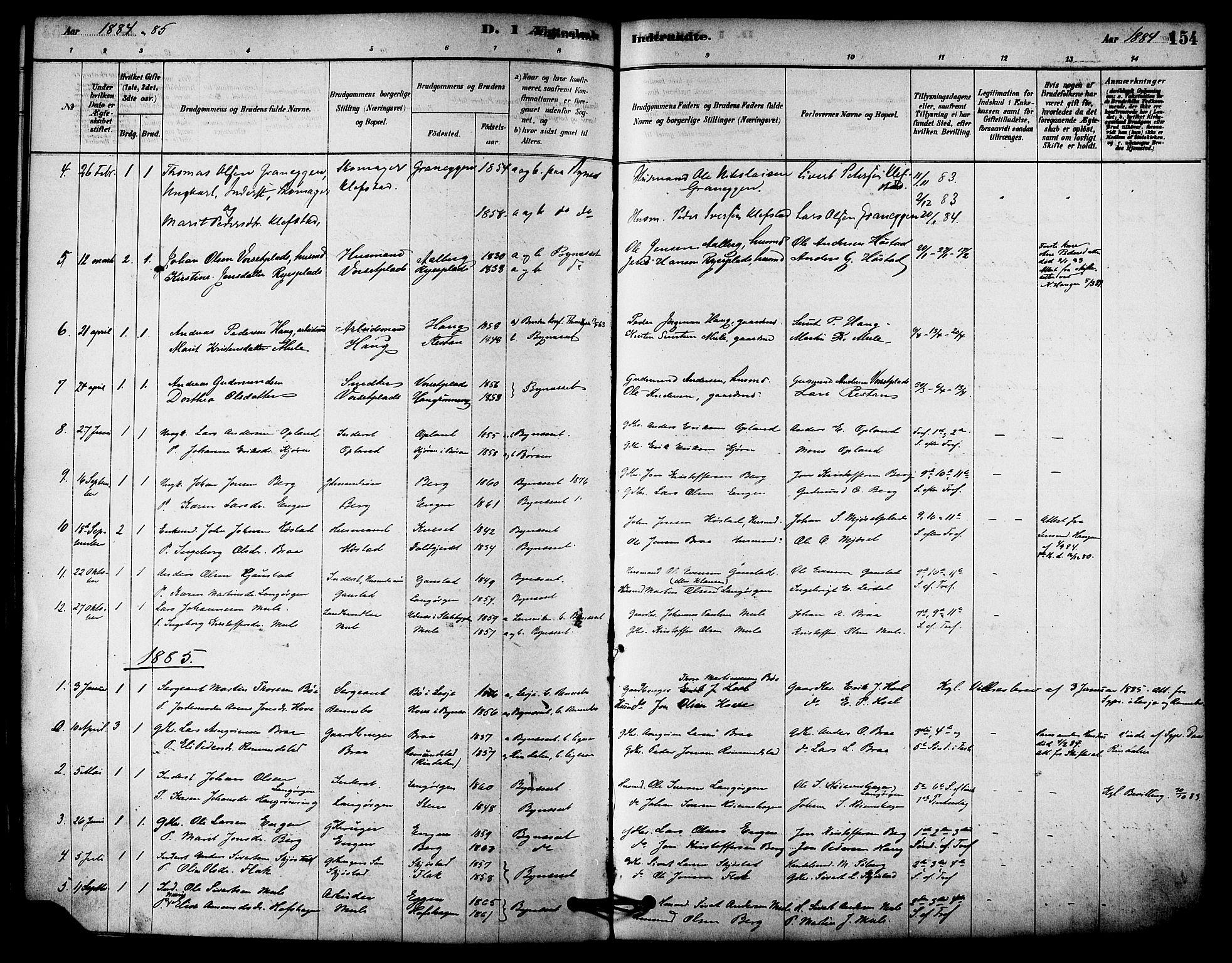 SAT, Ministerialprotokoller, klokkerbøker og fødselsregistre - Sør-Trøndelag, 612/L0378: Ministerialbok nr. 612A10, 1878-1897, s. 154