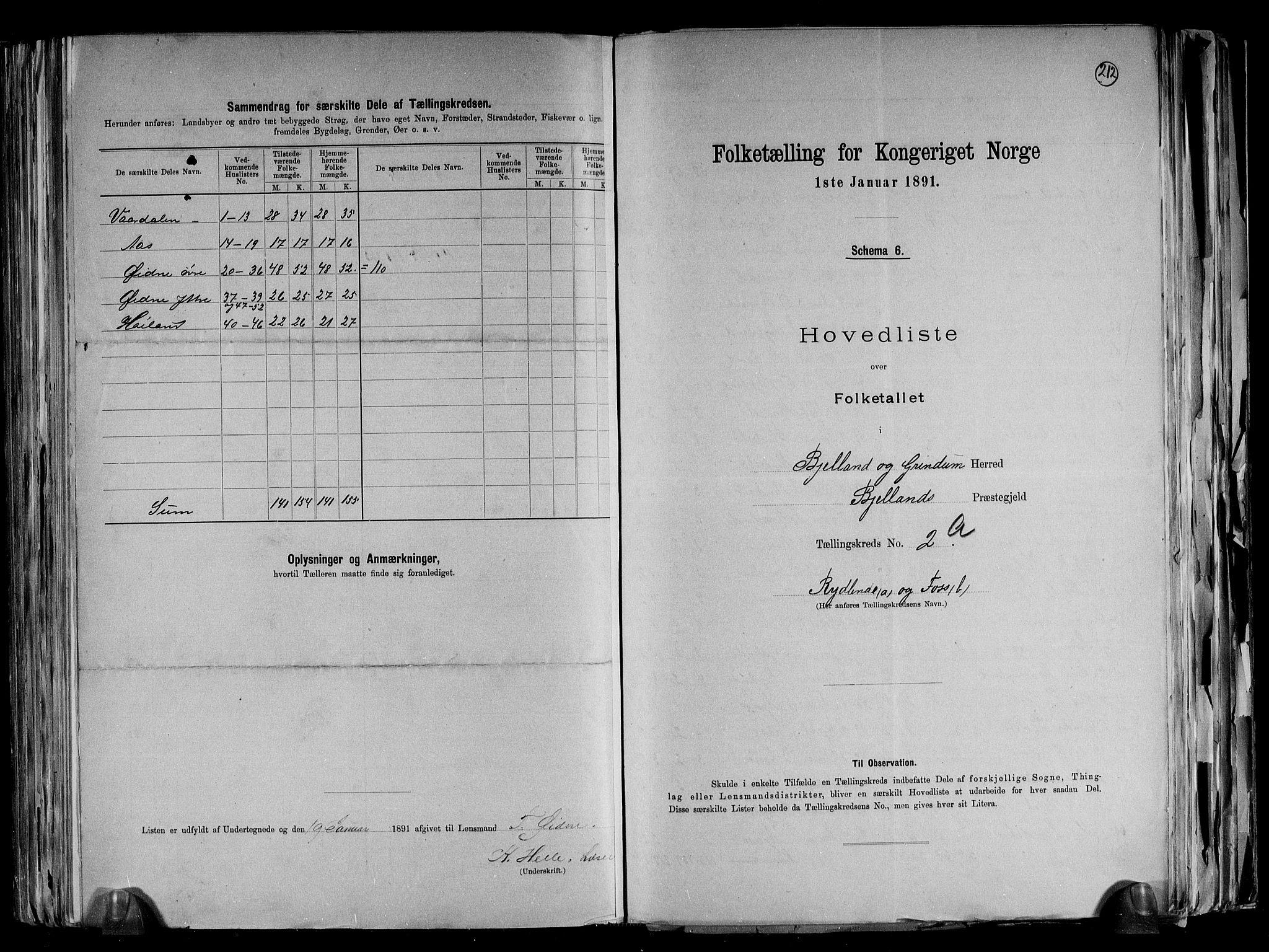 RA, Folketelling 1891 for 1024 Bjelland og Grindheim herred, 1891, s. 10