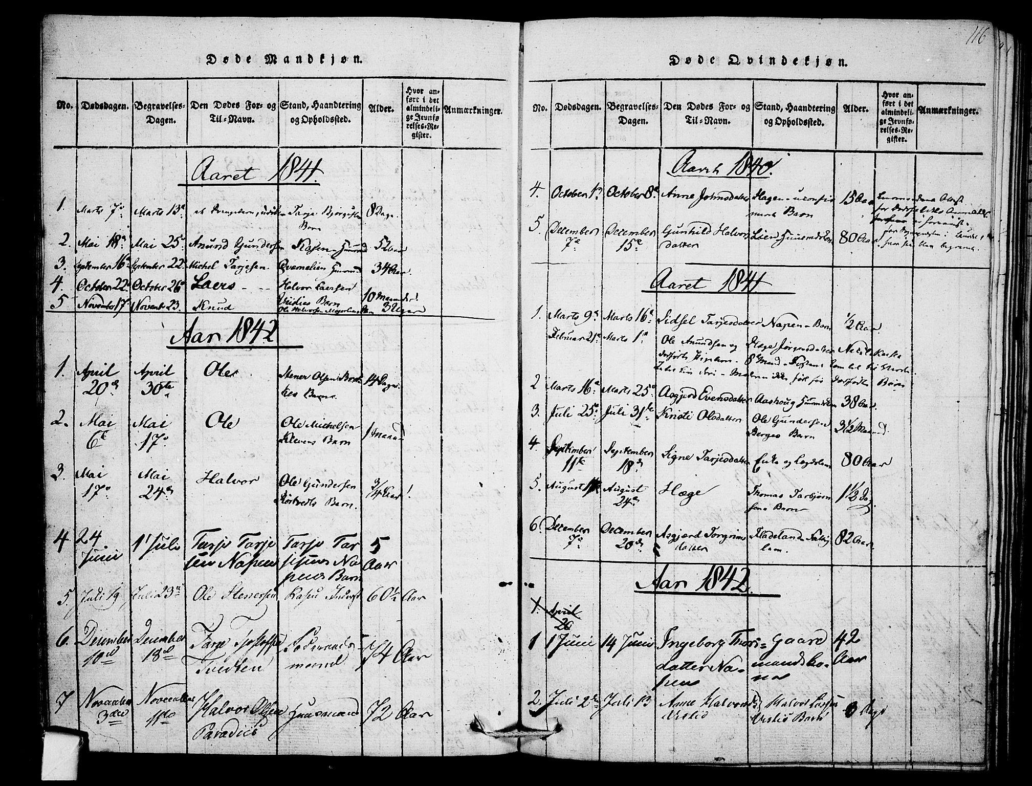 SAKO, Mo kirkebøker, F/Fb/L0001: Ministerialbok nr. II 1, 1814-1844, s. 116