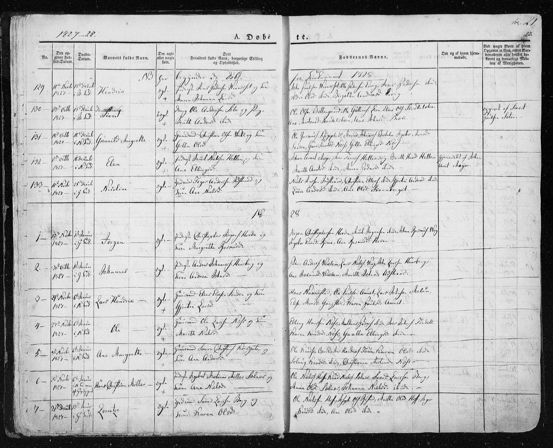 SAT, Ministerialprotokoller, klokkerbøker og fødselsregistre - Sør-Trøndelag, 659/L0735: Ministerialbok nr. 659A05, 1826-1841, s. 21