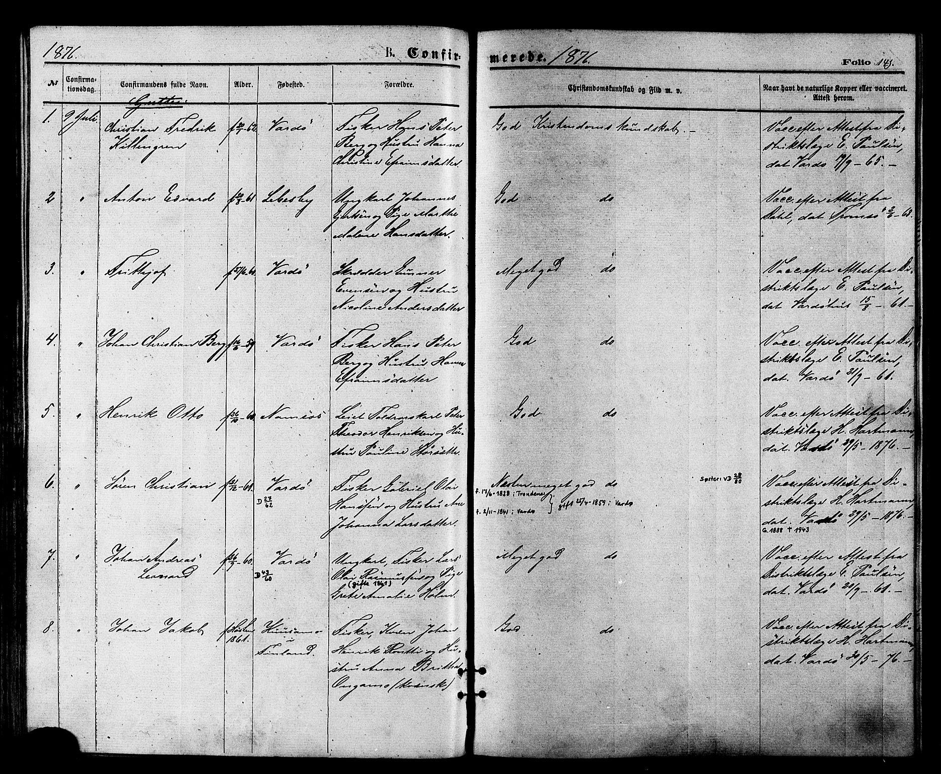 SATØ, Vardø sokneprestkontor, H/Ha/L0005kirke: Ministerialbok nr. 5, 1872-1878, s. 141