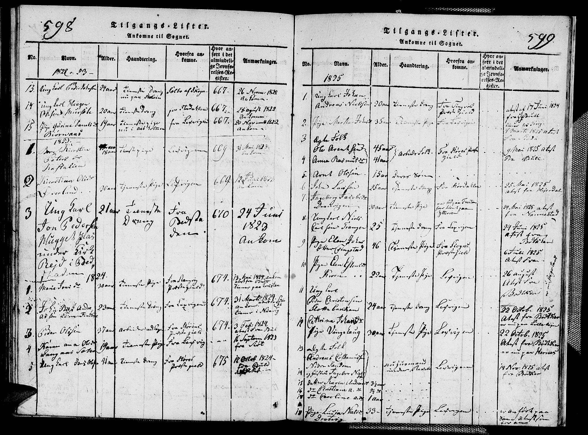 SAT, Ministerialprotokoller, klokkerbøker og fødselsregistre - Nord-Trøndelag, 713/L0124: Klokkerbok nr. 713C01, 1817-1827, s. 598-599