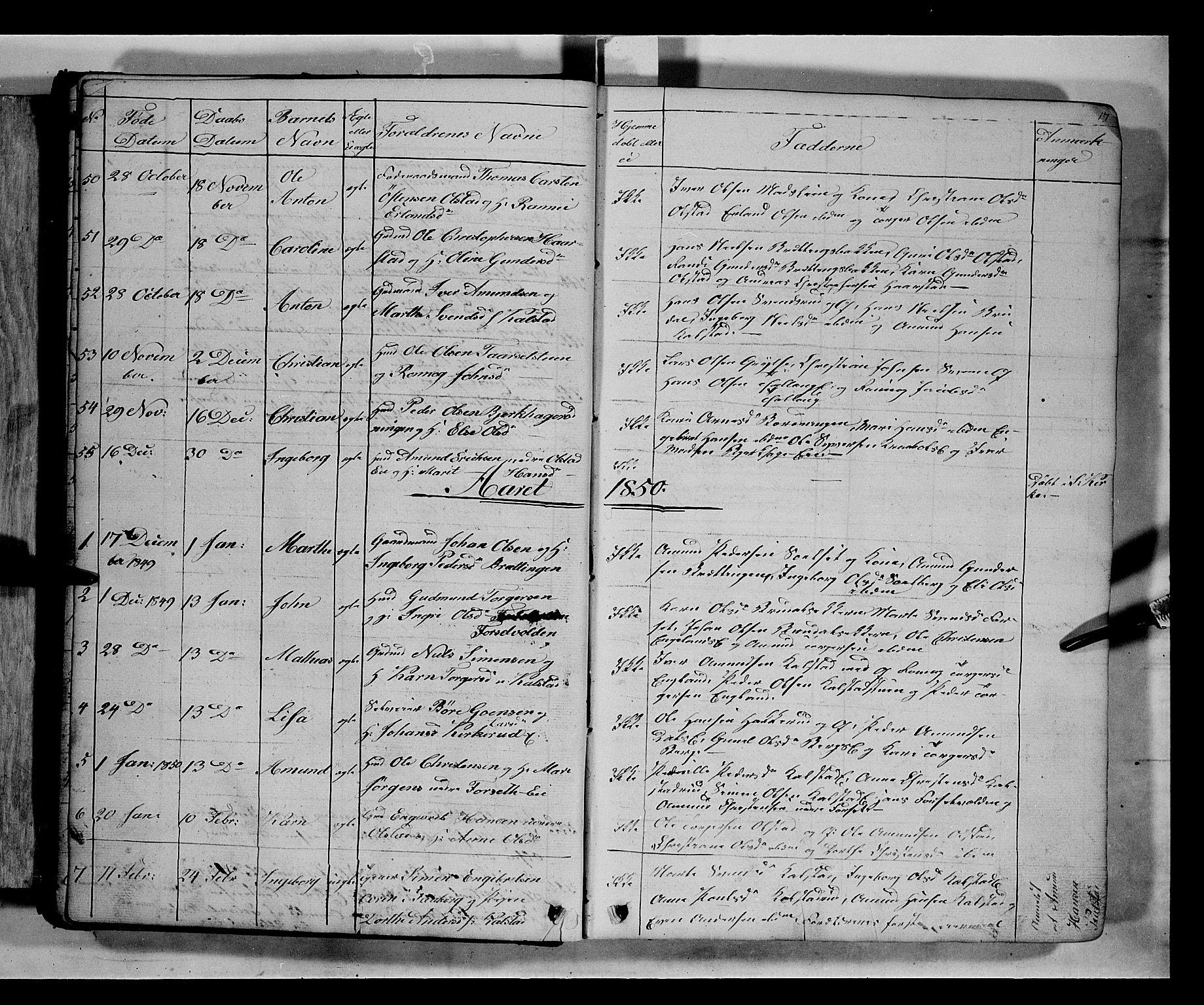 SAH, Gausdal prestekontor, Klokkerbok nr. 5, 1846-1867, s. 17
