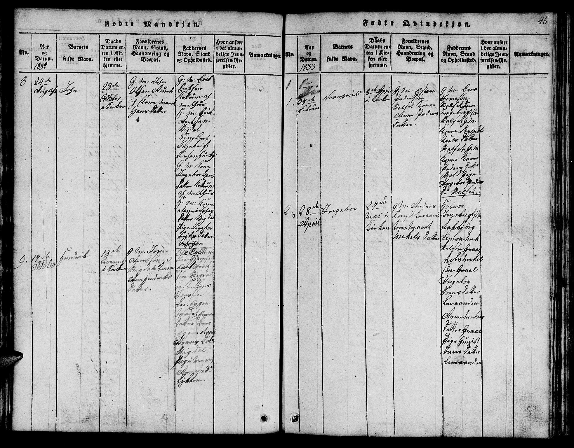 SAT, Ministerialprotokoller, klokkerbøker og fødselsregistre - Sør-Trøndelag, 666/L0788: Klokkerbok nr. 666C01, 1816-1847, s. 45