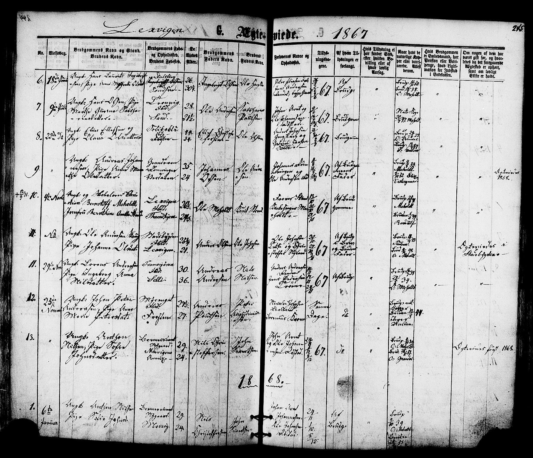 SAT, Ministerialprotokoller, klokkerbøker og fødselsregistre - Nord-Trøndelag, 701/L0009: Ministerialbok nr. 701A09 /1, 1864-1882, s. 245