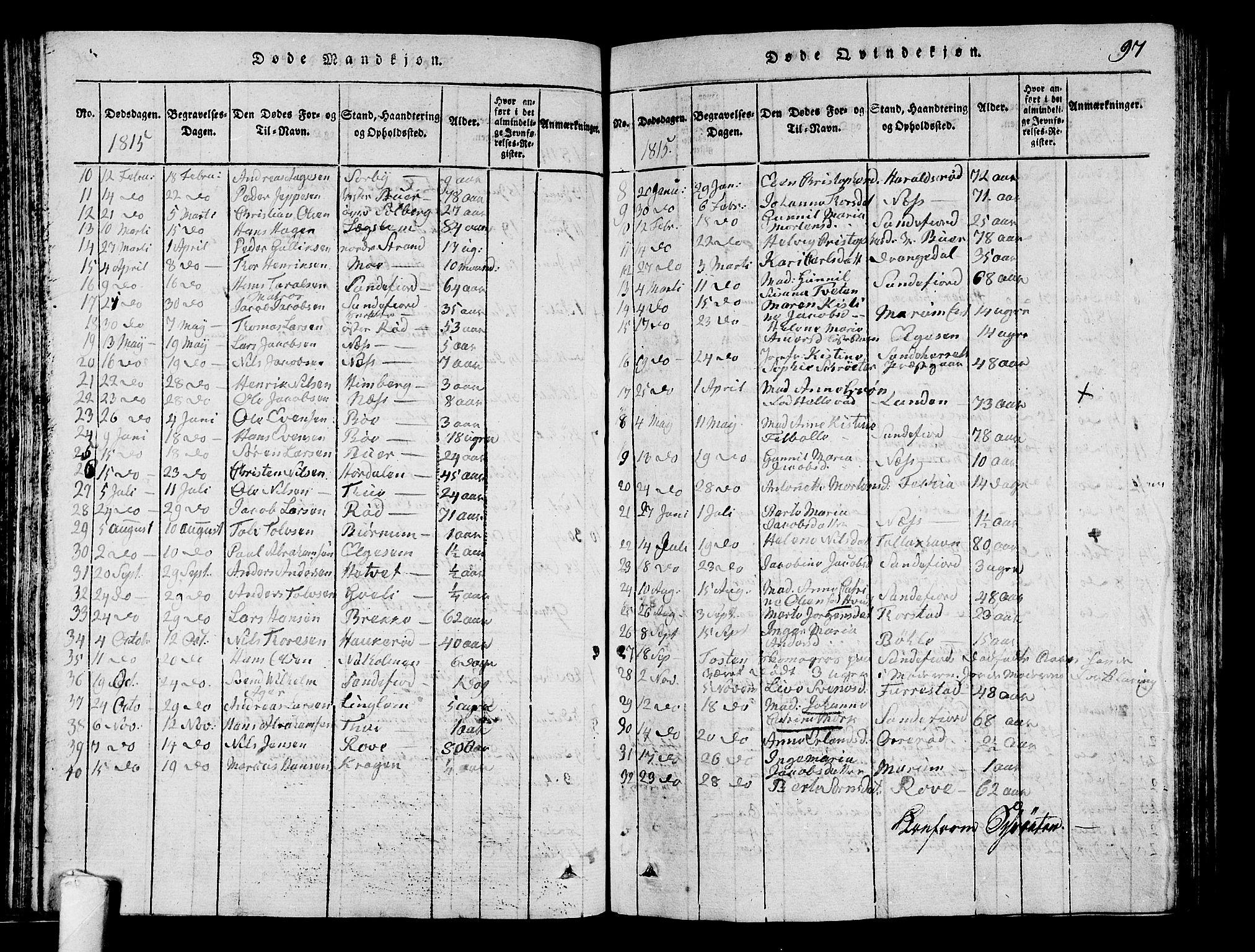 SAKO, Sandar kirkebøker, G/Ga/L0001: Klokkerbok nr. 1, 1814-1835, s. 97