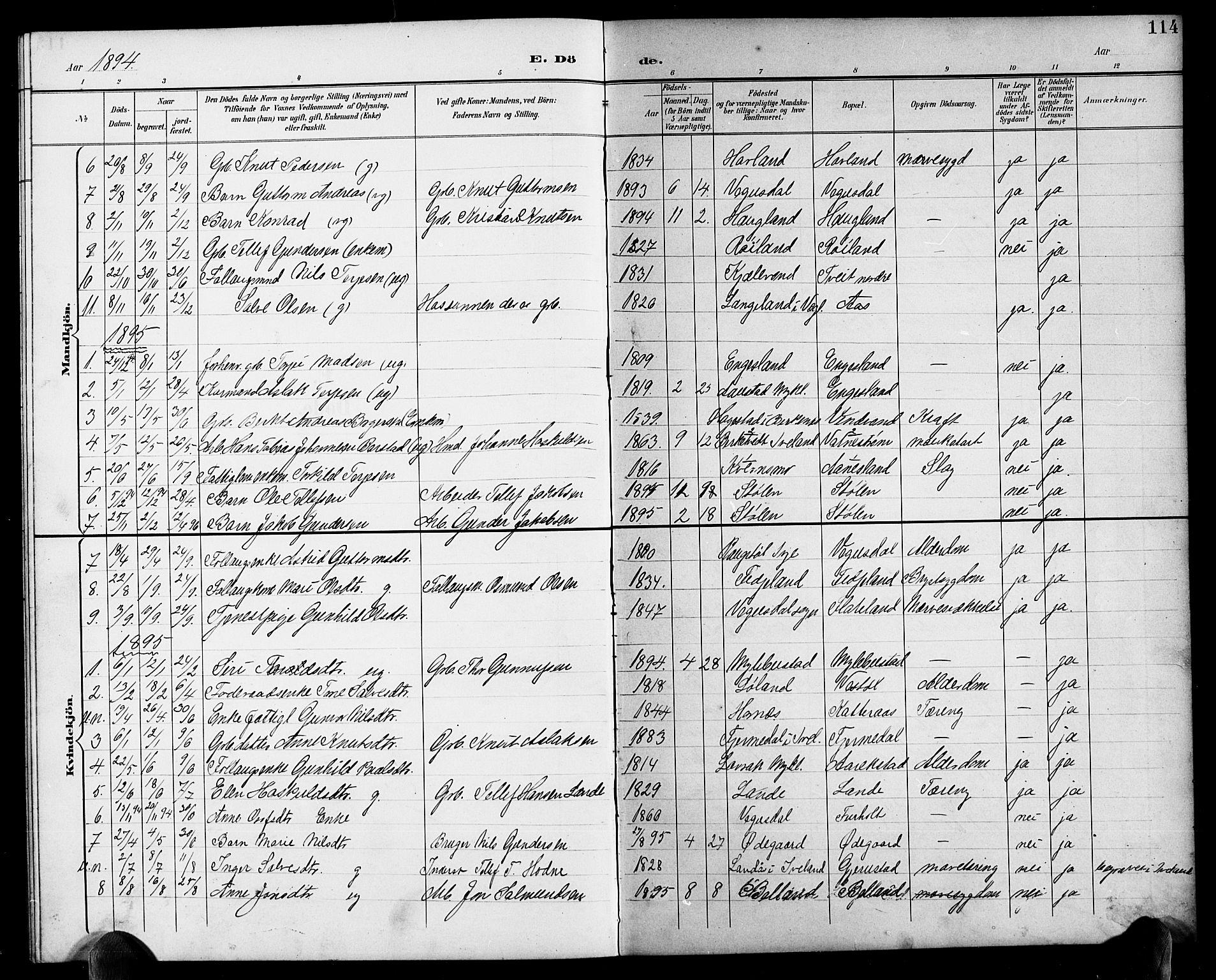 SAK, Herefoss sokneprestkontor, F/Fb/Fbb/L0003: Klokkerbok nr. B 3, 1892-1917, s. 114