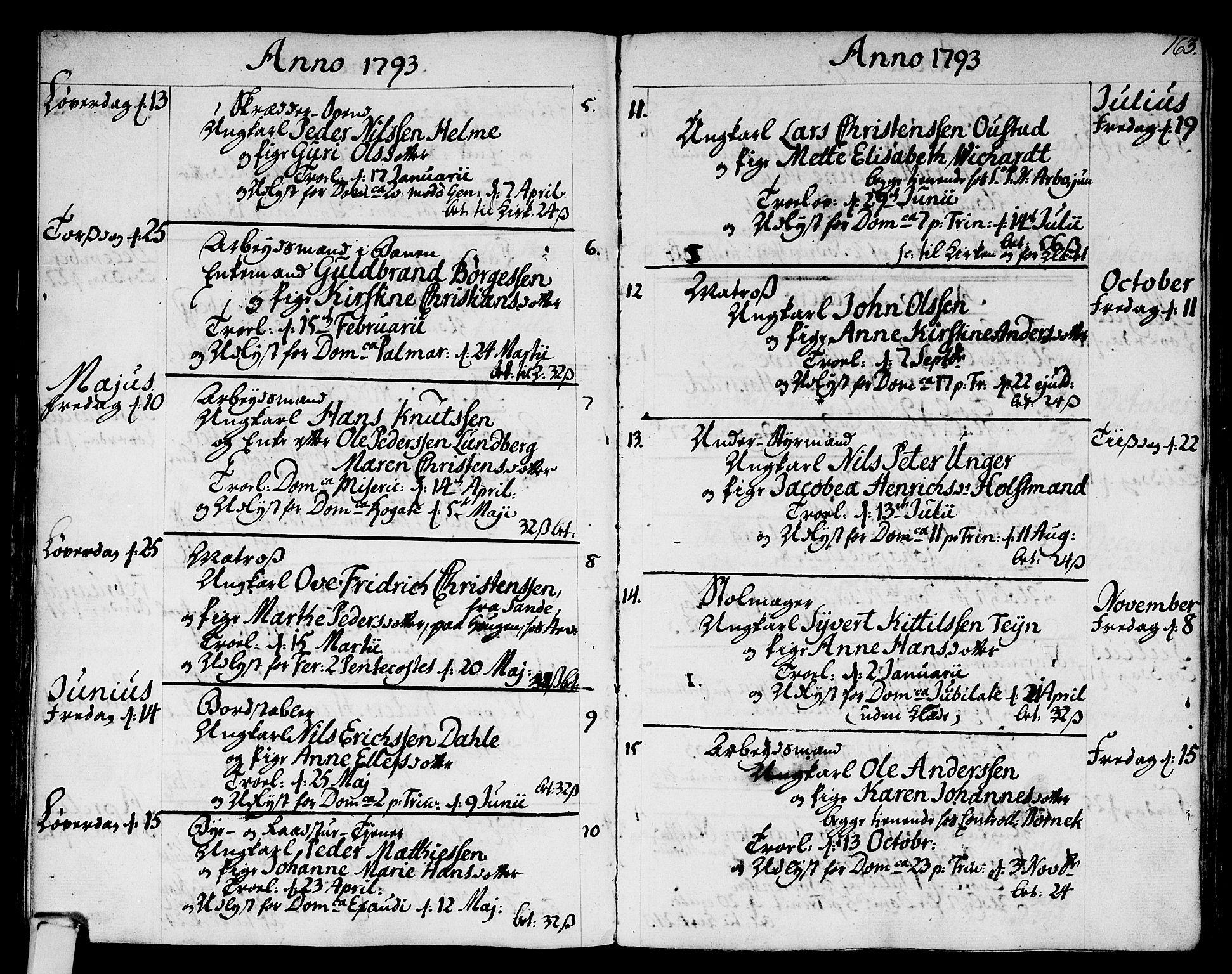 SAKO, Strømsø kirkebøker, F/Fa/L0010: Ministerialbok nr. I 10, 1792-1822, s. 163