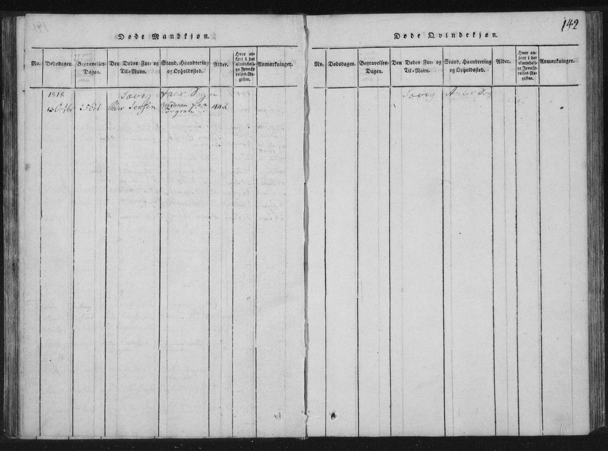 SAT, Ministerialprotokoller, klokkerbøker og fødselsregistre - Nord-Trøndelag, 773/L0609: Ministerialbok nr. 773A03 /4, 1815-1818, s. 142