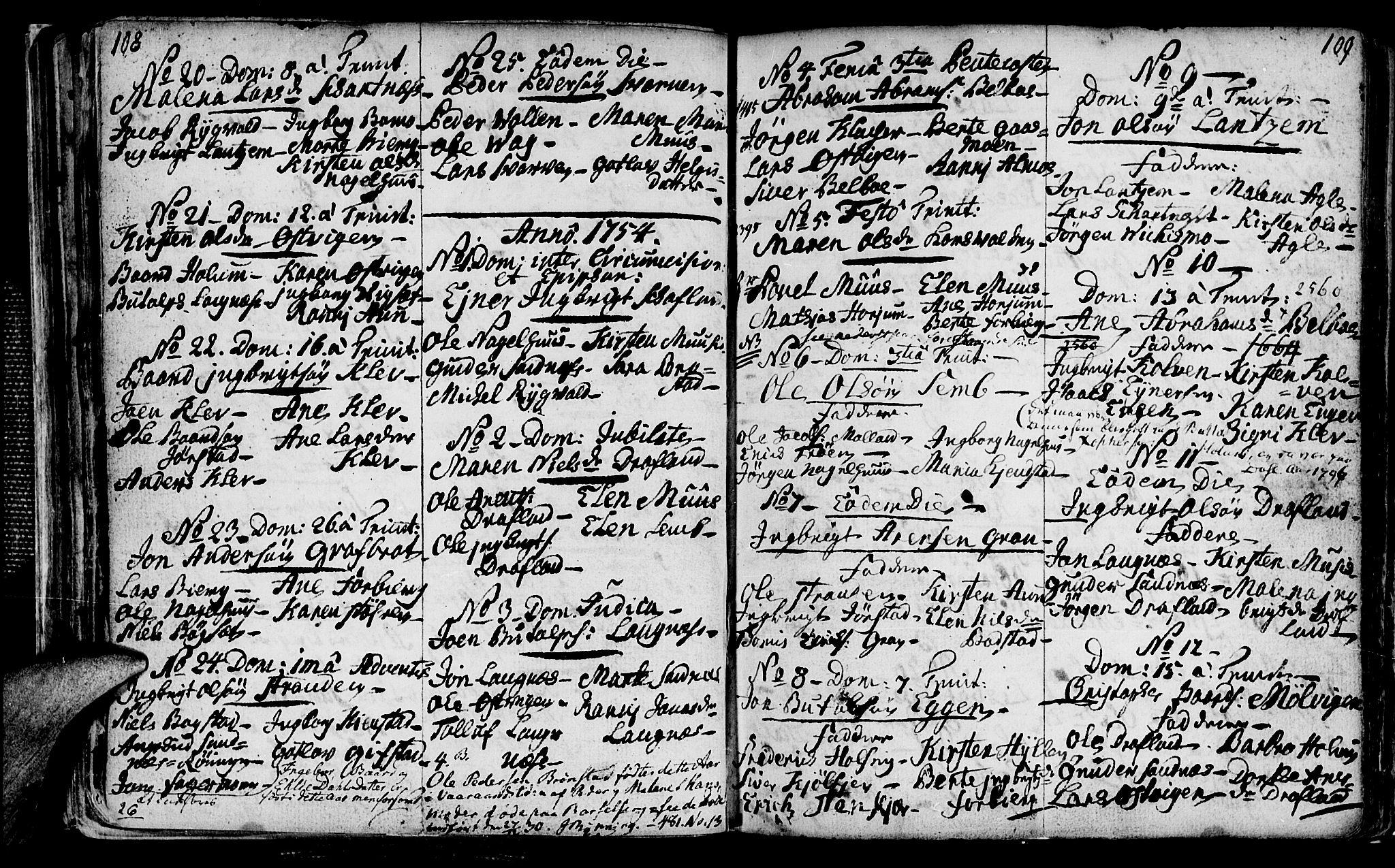 SAT, Ministerialprotokoller, klokkerbøker og fødselsregistre - Nord-Trøndelag, 749/L0467: Ministerialbok nr. 749A01, 1733-1787, s. 108-109
