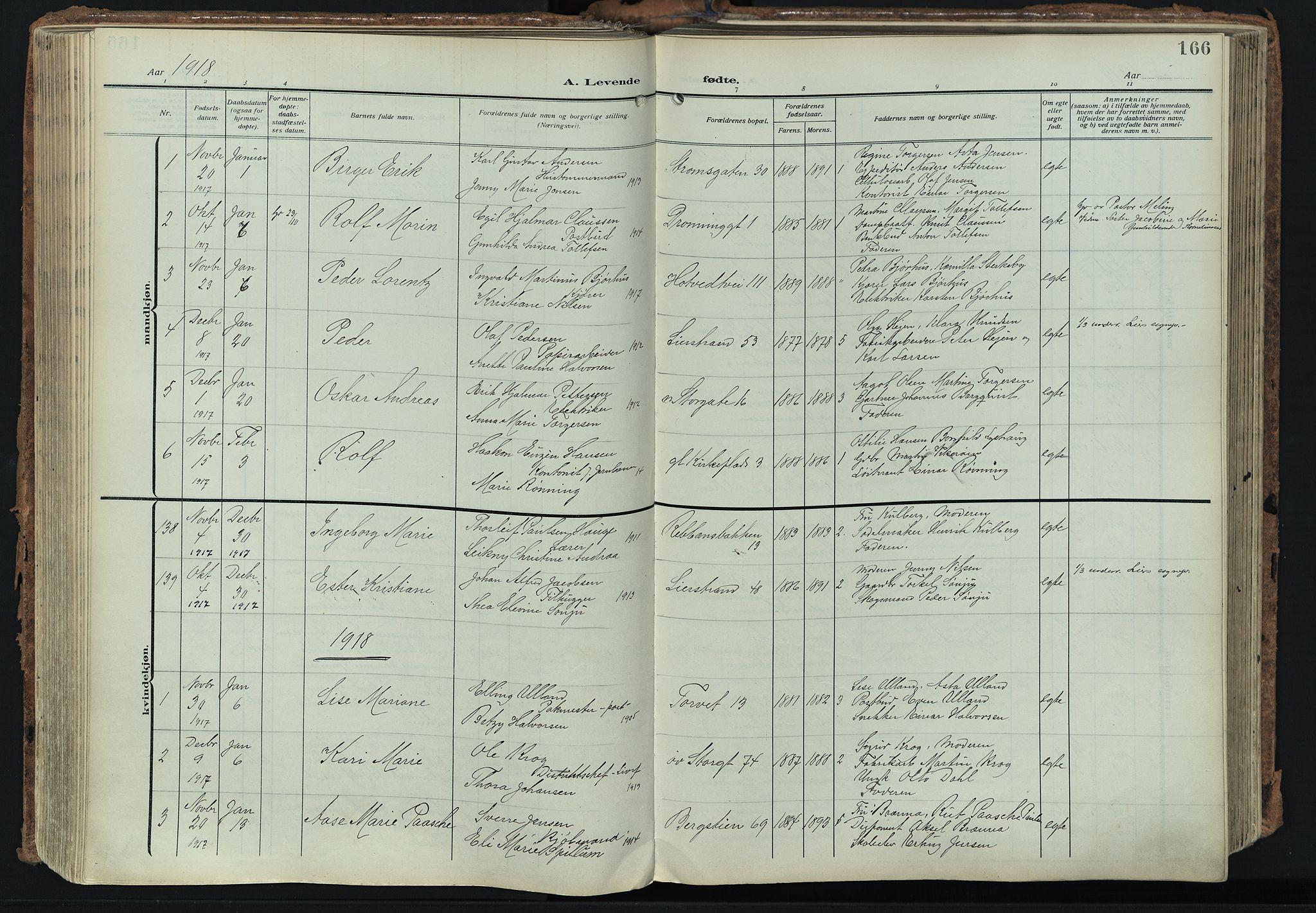 SAKO, Bragernes kirkebøker, F/Fb/L0010: Ministerialbok nr. II 10, 1911-1922, s. 166