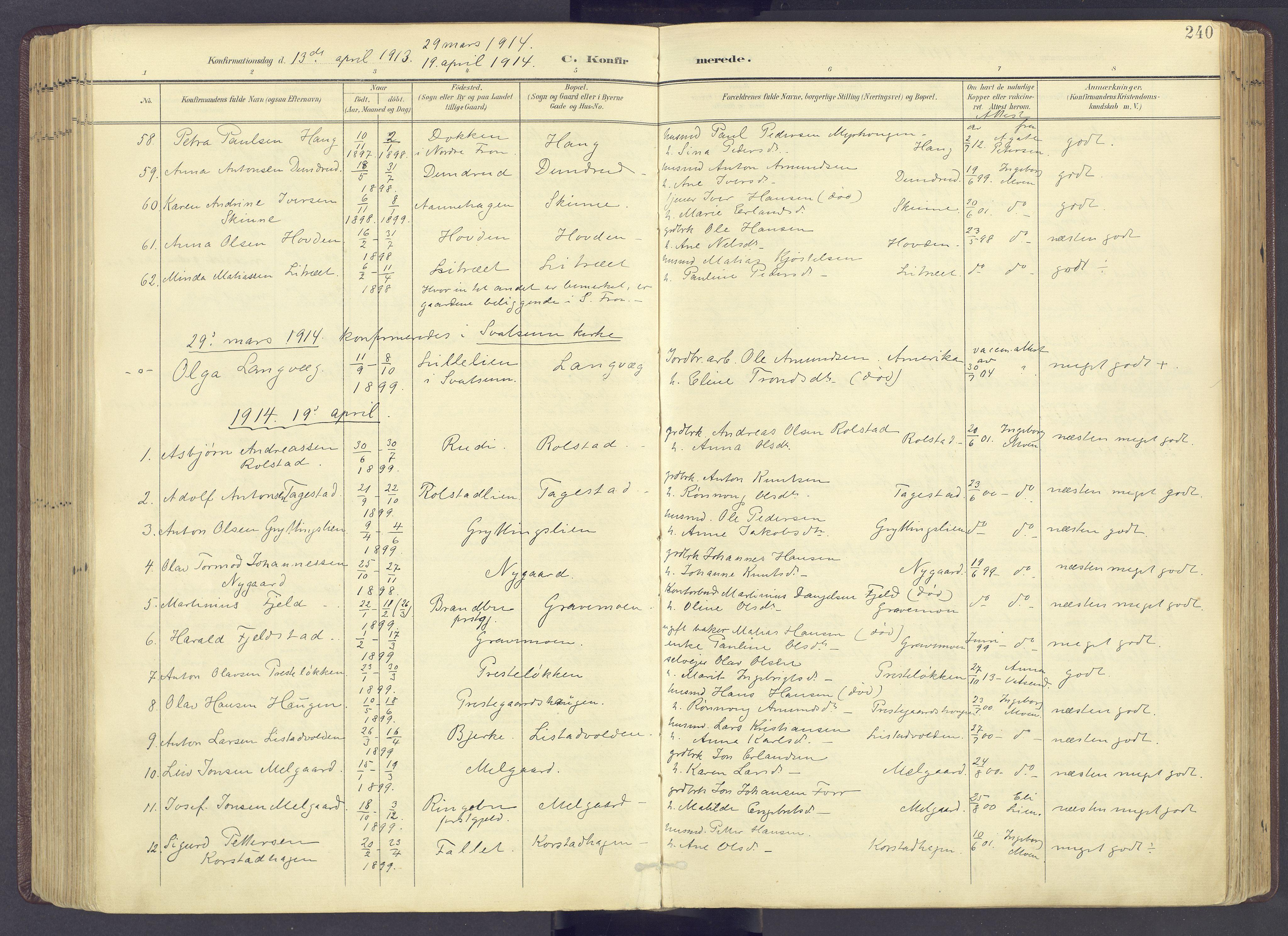 SAH, Sør-Fron prestekontor, H/Ha/Haa/L0004: Ministerialbok nr. 4, 1898-1919, s. 240