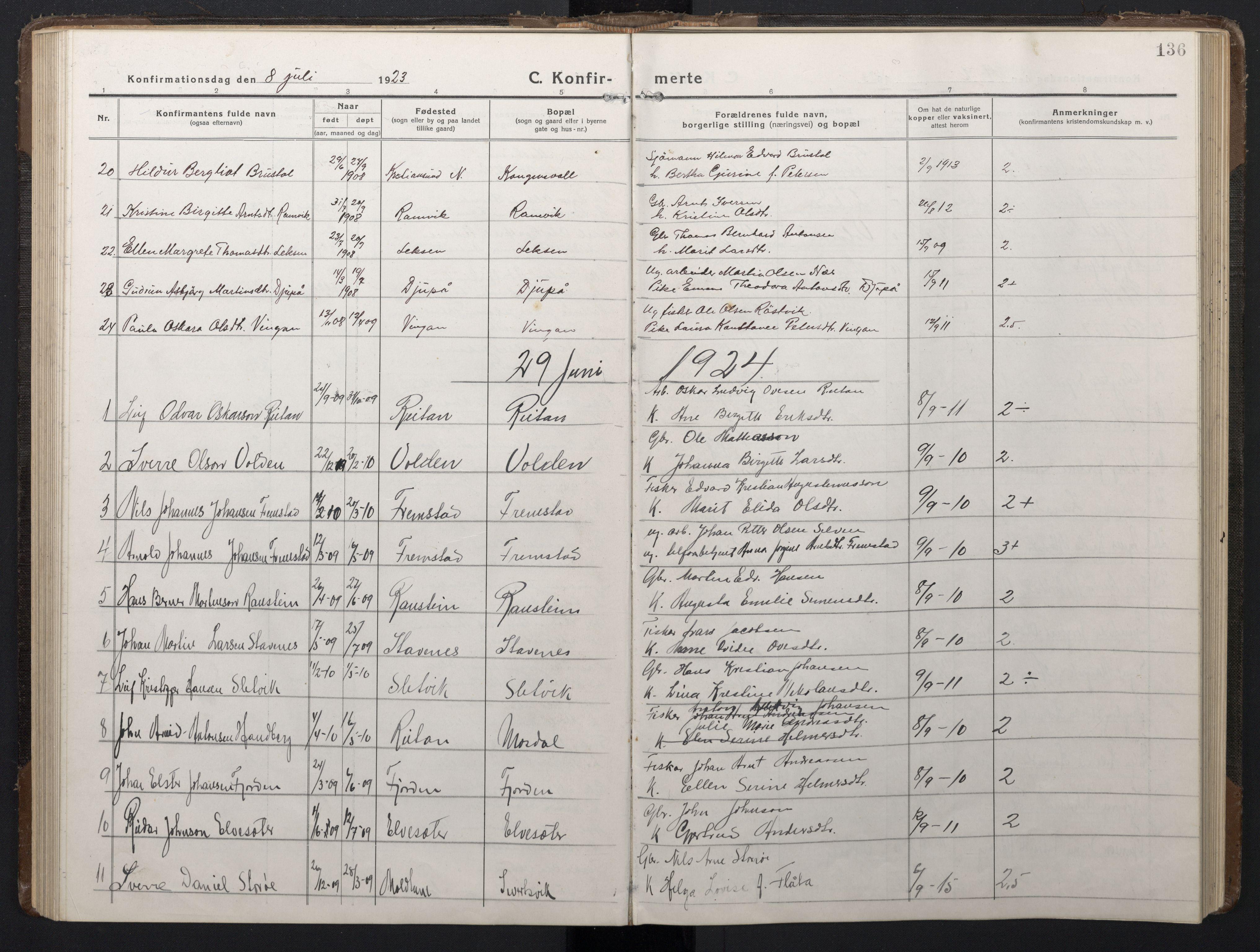 SAT, Ministerialprotokoller, klokkerbøker og fødselsregistre - Sør-Trøndelag, 662/L0758: Klokkerbok nr. 662C03, 1918-1948, s. 136