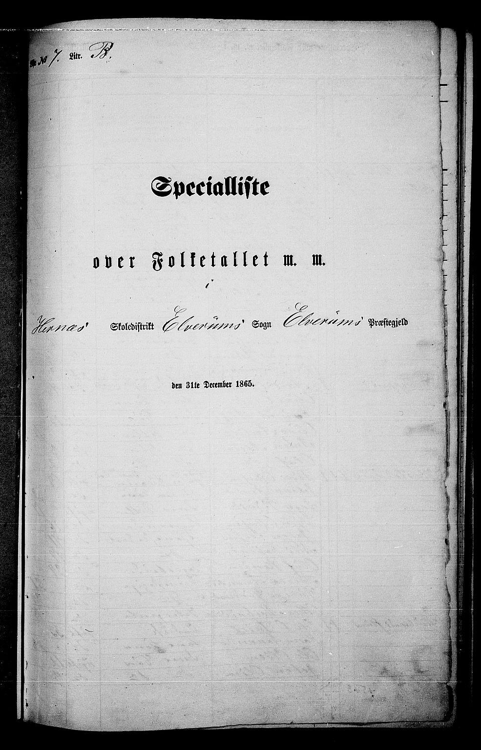 RA, Folketelling 1865 for 0427P Elverum prestegjeld, 1865, s. 165