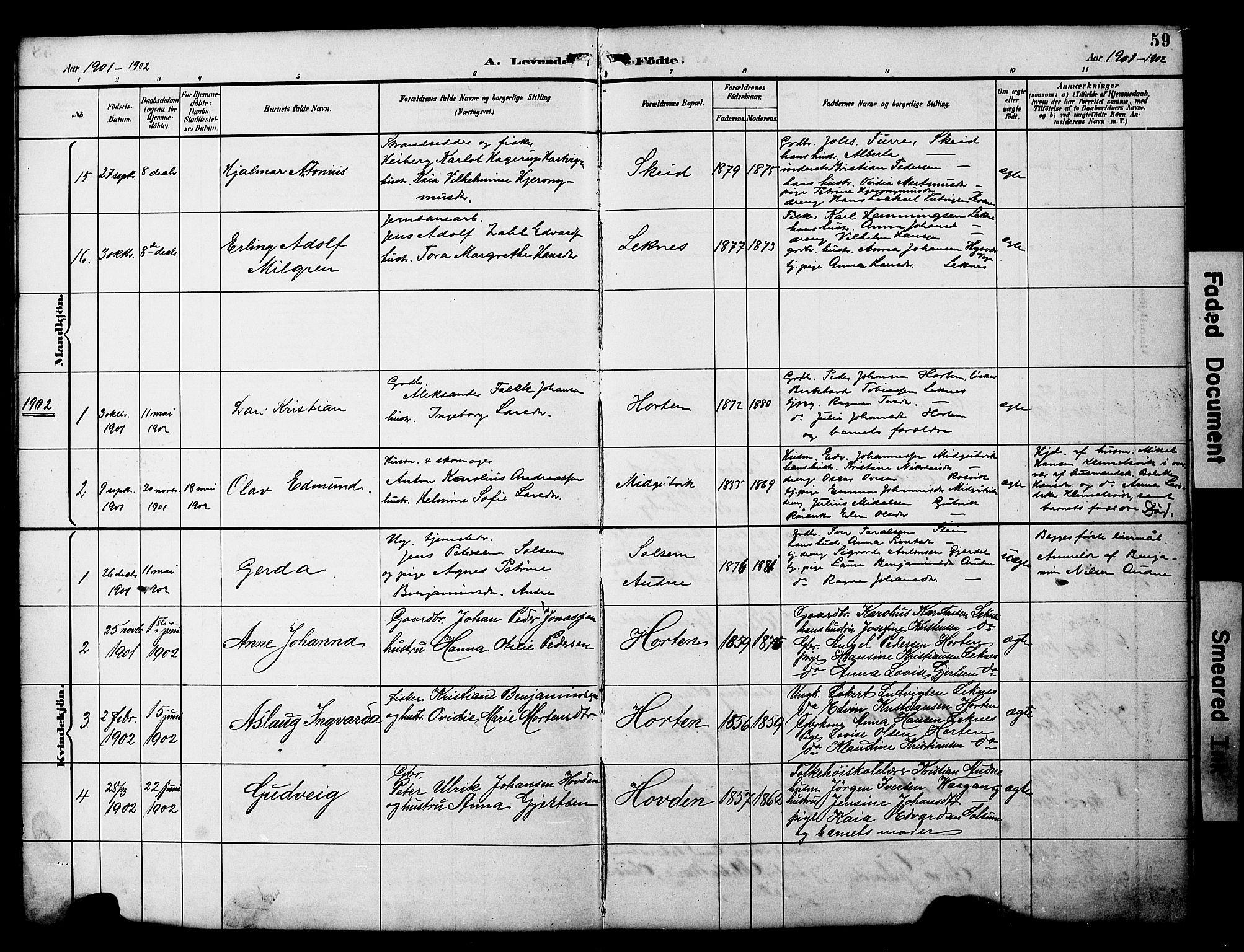 SAT, Ministerialprotokoller, klokkerbøker og fødselsregistre - Nord-Trøndelag, 788/L0701: Klokkerbok nr. 788C01, 1888-1913, s. 59