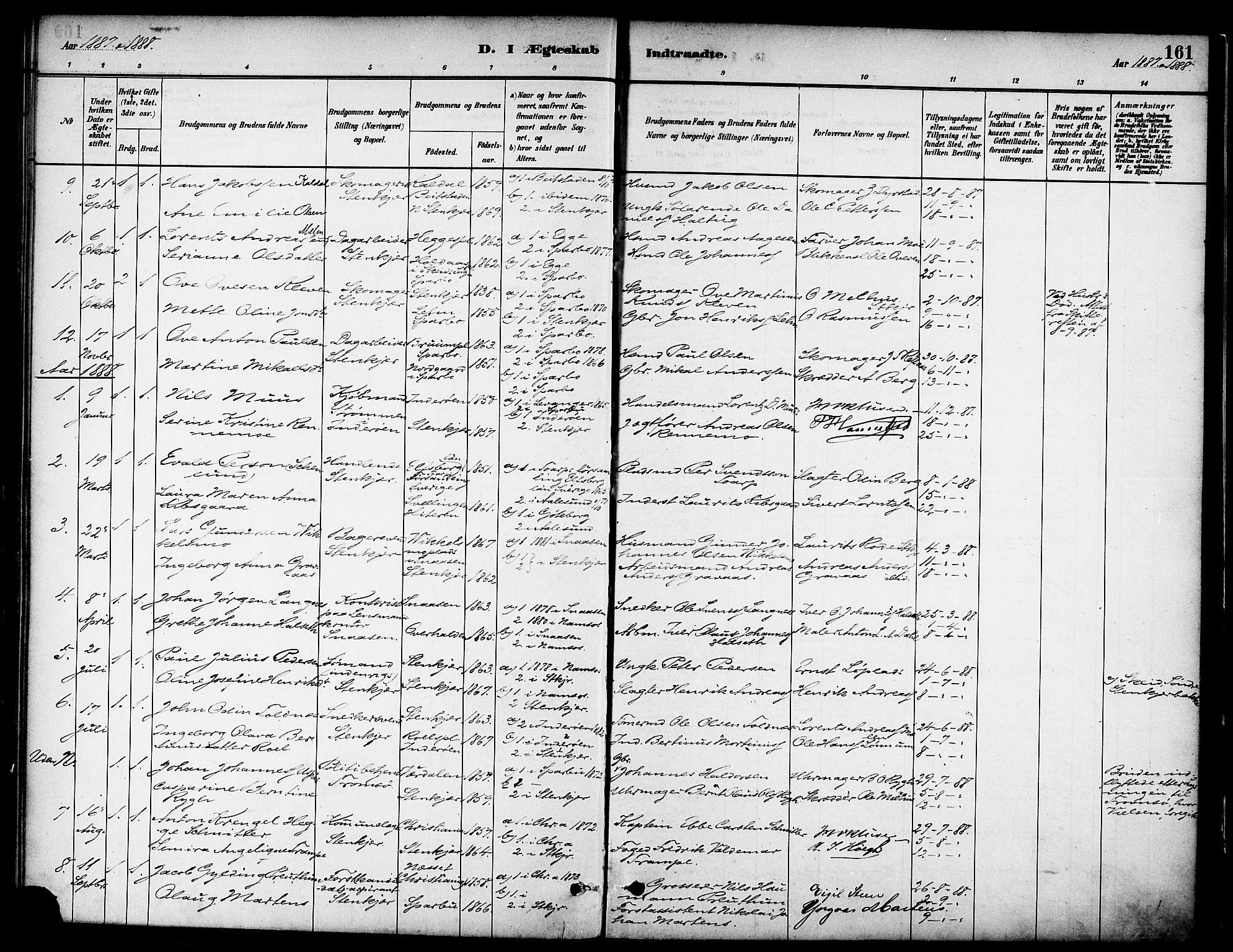 SAT, Ministerialprotokoller, klokkerbøker og fødselsregistre - Nord-Trøndelag, 739/L0371: Ministerialbok nr. 739A03, 1881-1895, s. 161