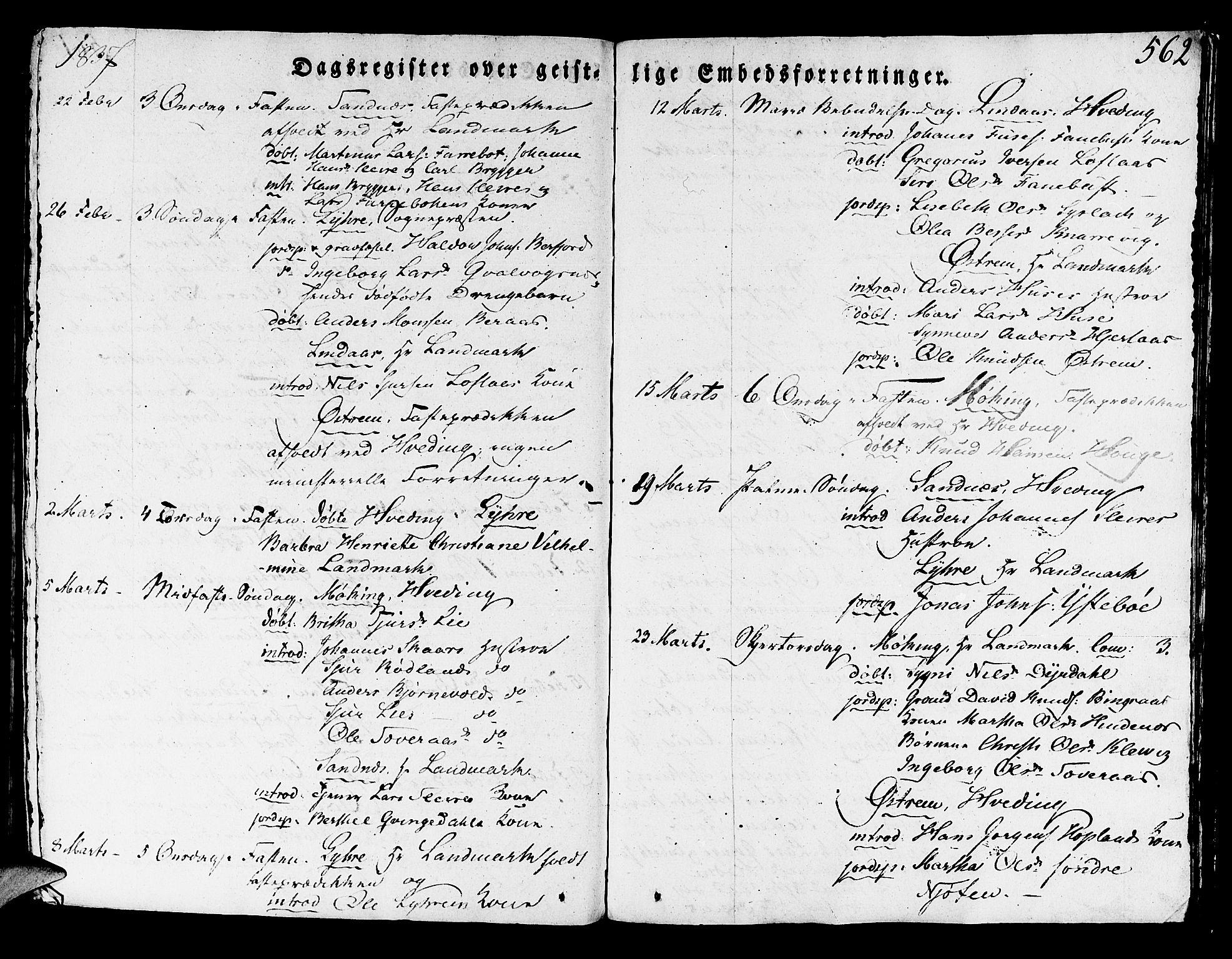 SAB, Lindås Sokneprestembete, H/Haa: Ministerialbok nr. A 8, 1823-1836, s. 562