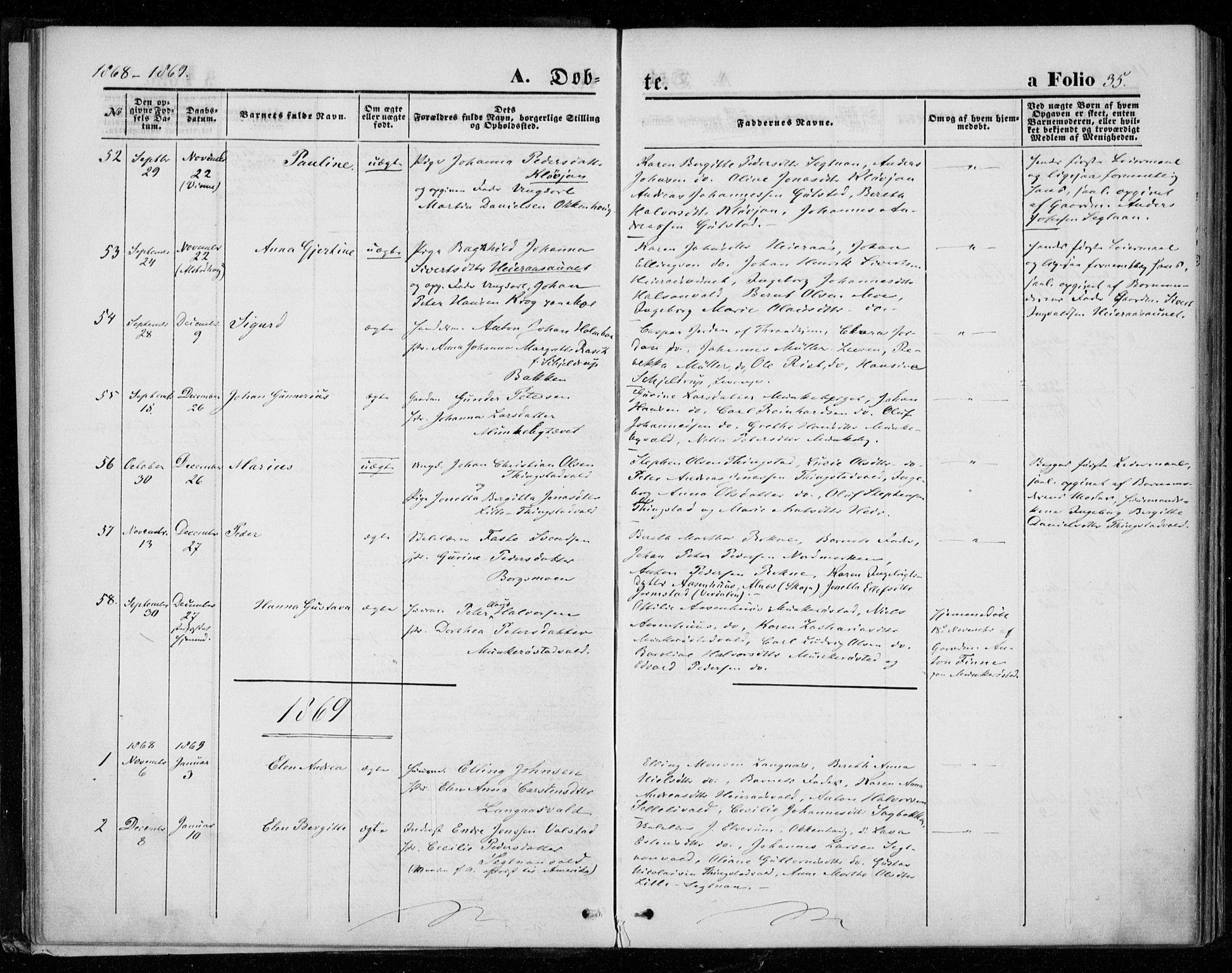 SAT, Ministerialprotokoller, klokkerbøker og fødselsregistre - Nord-Trøndelag, 721/L0206: Ministerialbok nr. 721A01, 1864-1874, s. 35