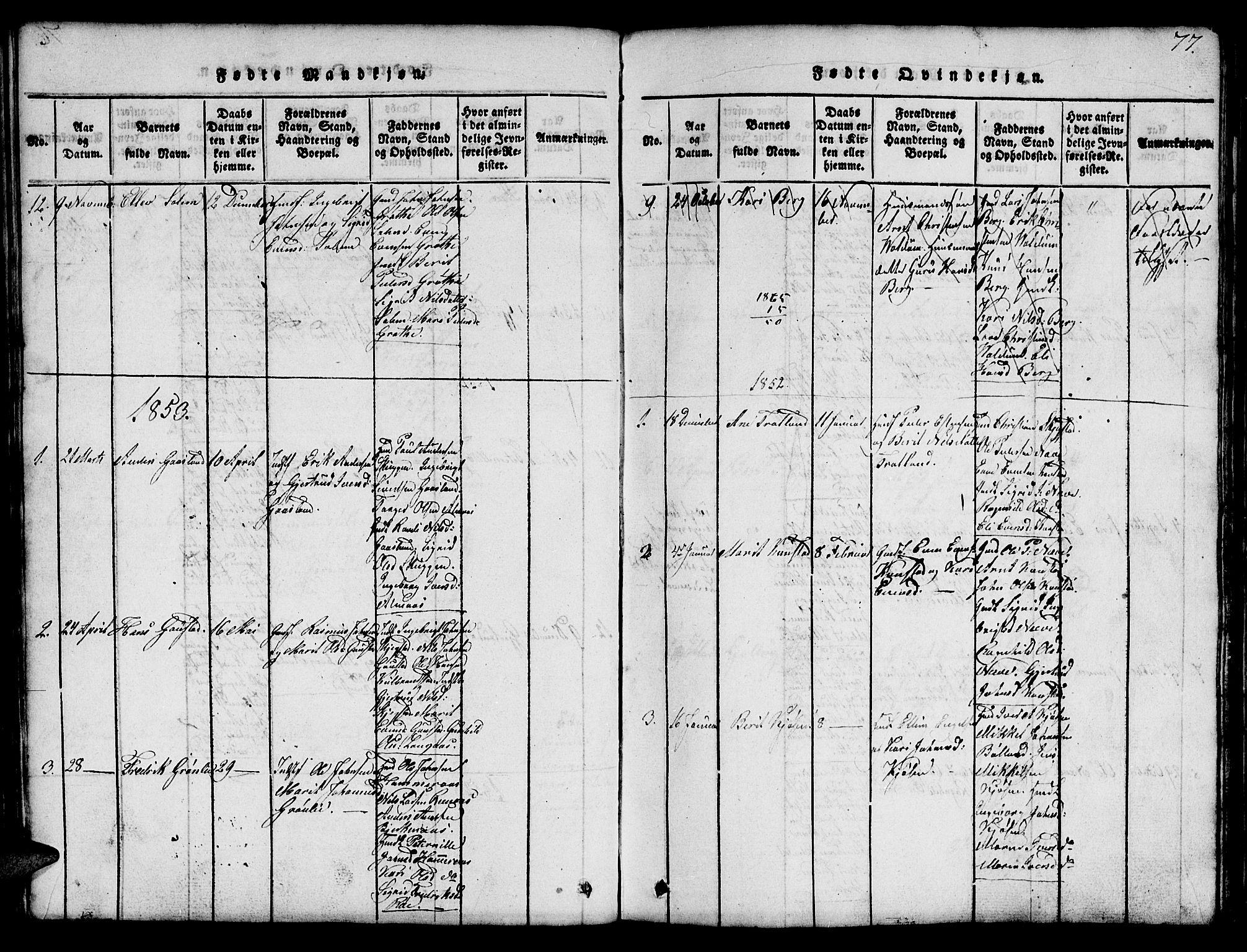 SAT, Ministerialprotokoller, klokkerbøker og fødselsregistre - Sør-Trøndelag, 694/L1130: Klokkerbok nr. 694C02, 1816-1857, s. 77