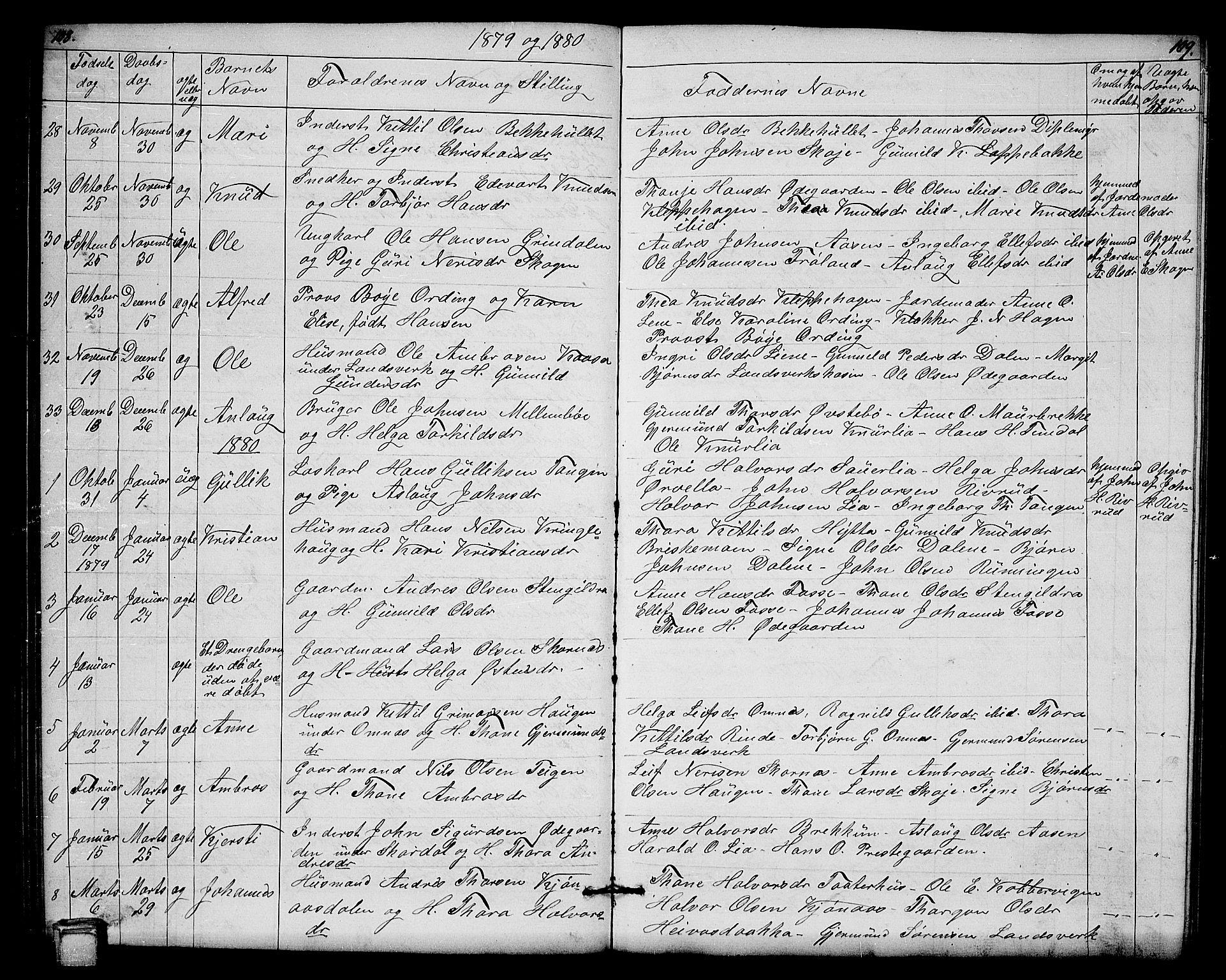 SAKO, Hjartdal kirkebøker, G/Gb/L0002: Klokkerbok nr. II 2, 1854-1884, s. 108-109