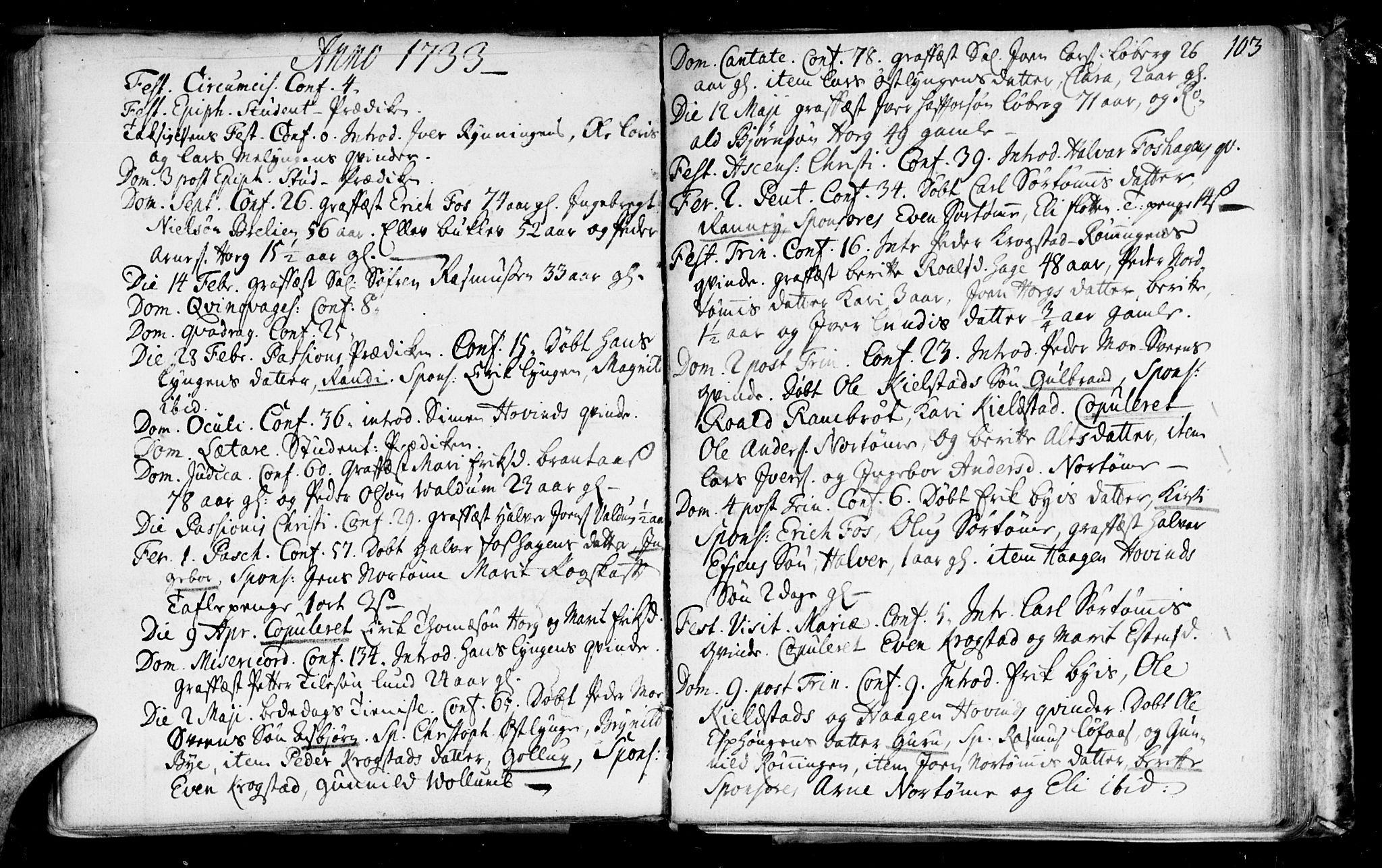 SAT, Ministerialprotokoller, klokkerbøker og fødselsregistre - Sør-Trøndelag, 692/L1101: Ministerialbok nr. 692A01, 1690-1746, s. 103