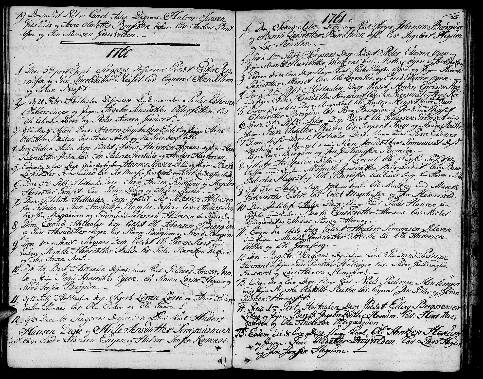 SAT, Ministerialprotokoller, klokkerbøker og fødselsregistre - Sør-Trøndelag, 685/L0952: Ministerialbok nr. 685A01, 1745-1804, s. 105