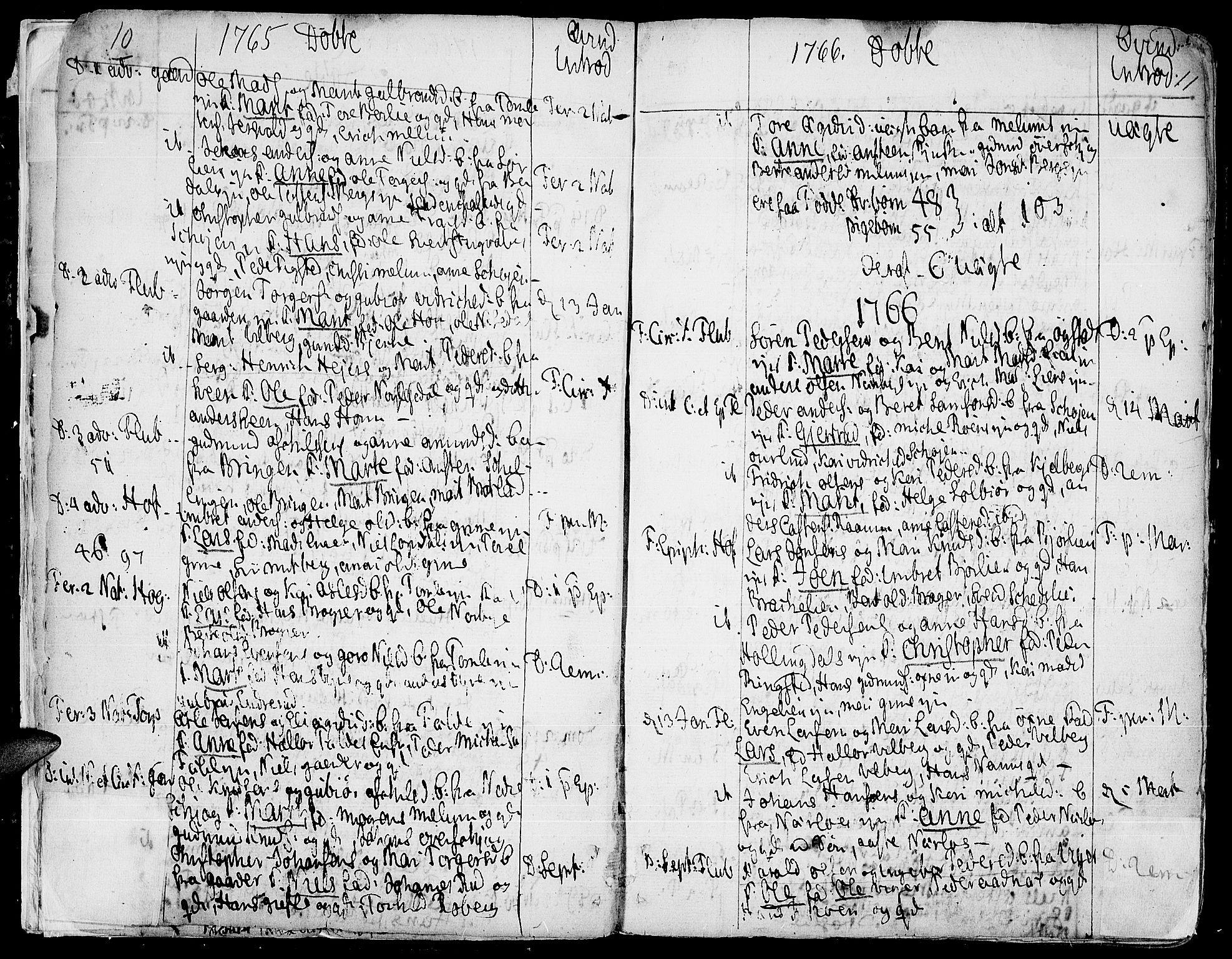 SAH, Land prestekontor, Ministerialbok nr. 5, 1765-1784, s. 10-11