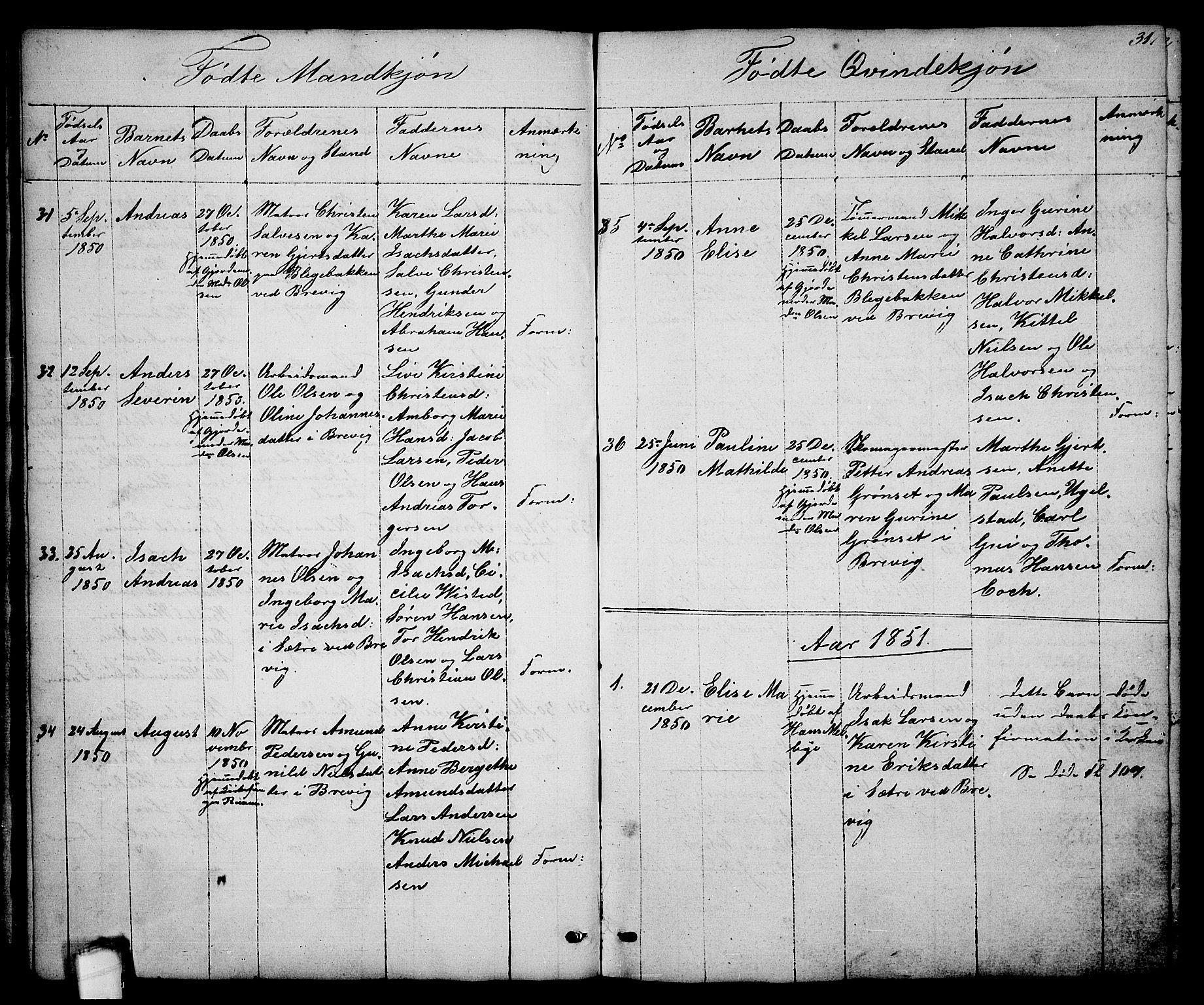 SAKO, Brevik kirkebøker, G/Ga/L0002: Klokkerbok nr. 2, 1846-1865, s. 31