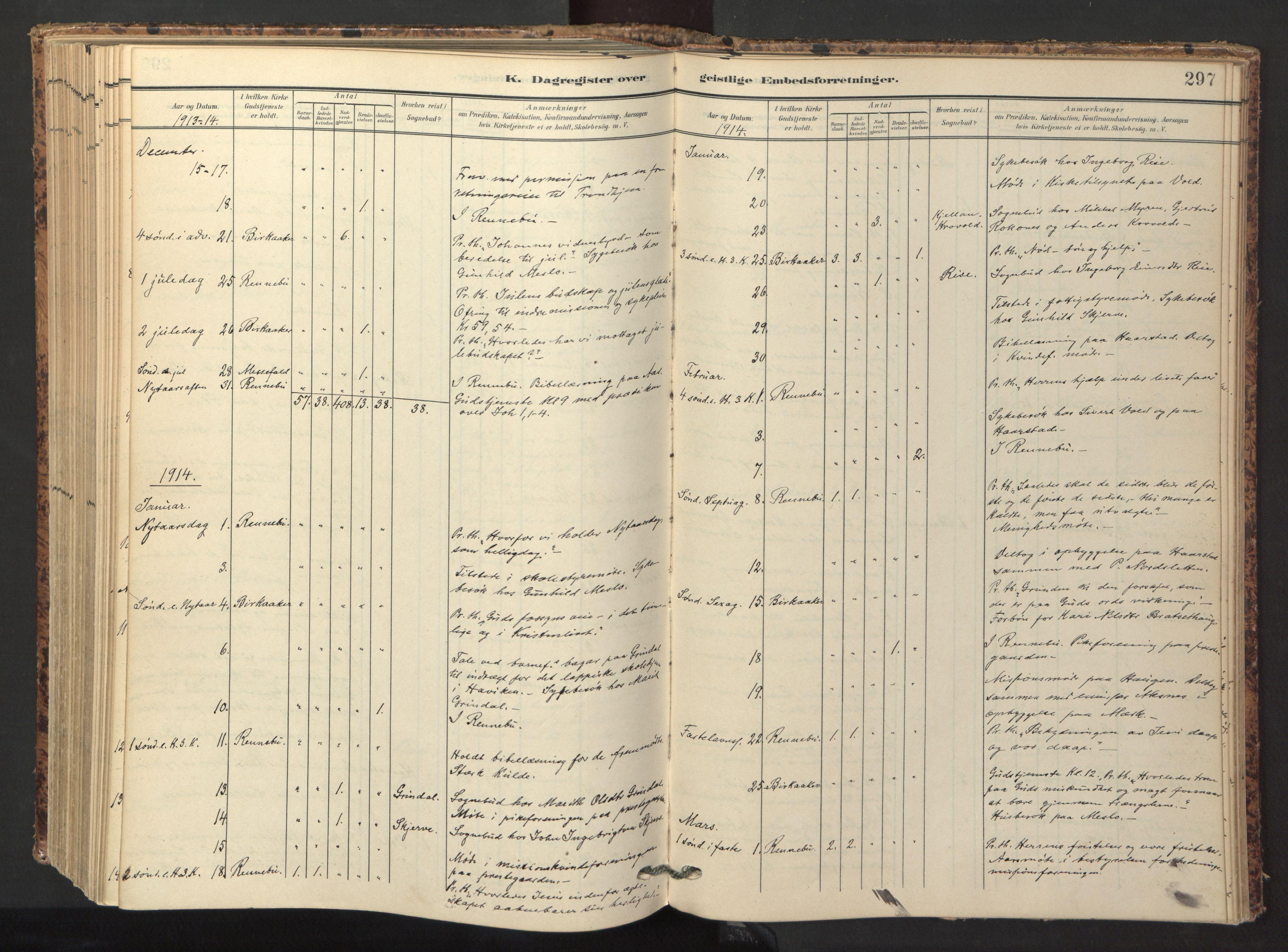 SAT, Ministerialprotokoller, klokkerbøker og fødselsregistre - Sør-Trøndelag, 674/L0873: Ministerialbok nr. 674A05, 1908-1923, s. 297