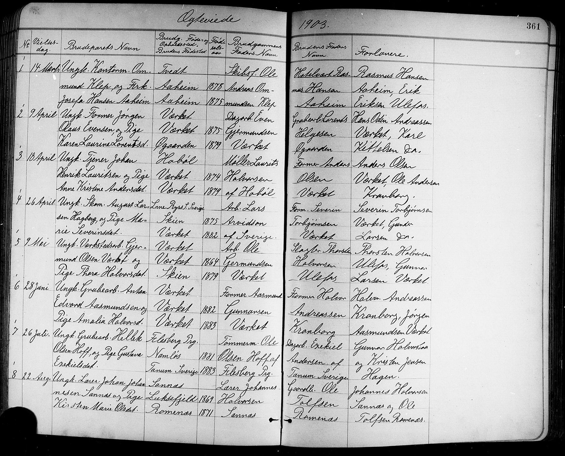 SAKO, Holla kirkebøker, G/Ga/L0005: Klokkerbok nr. I 5, 1891-1917, s. 361