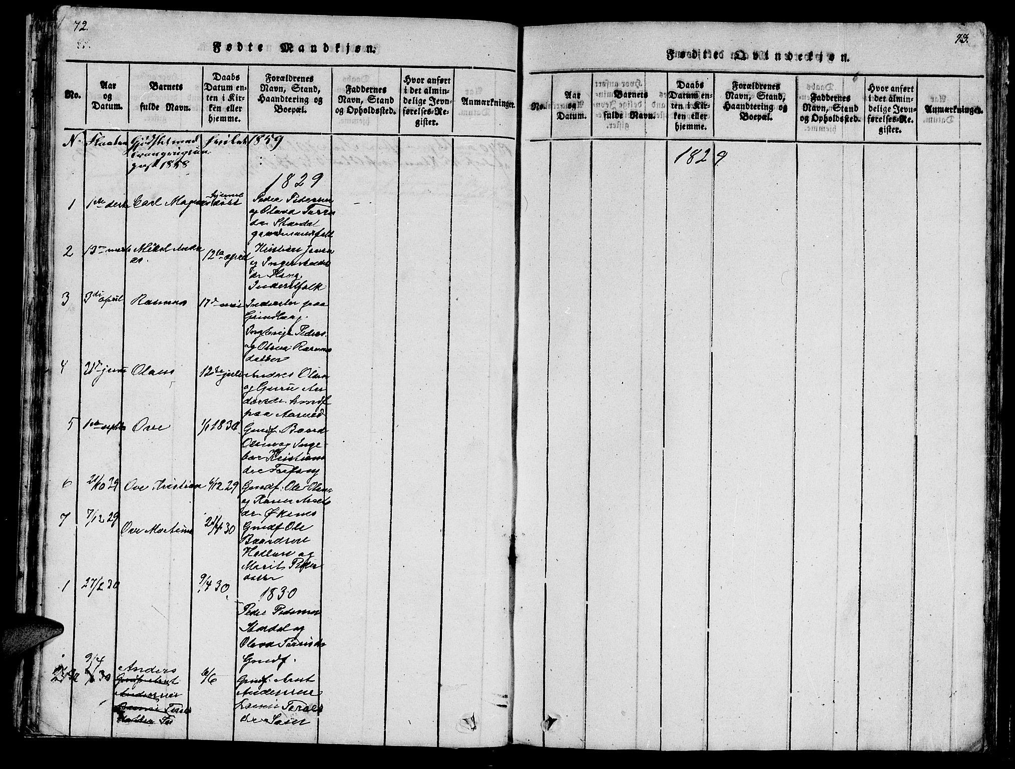 SAT, Ministerialprotokoller, klokkerbøker og fødselsregistre - Nord-Trøndelag, 747/L0459: Klokkerbok nr. 747C01, 1816-1842, s. 72-73