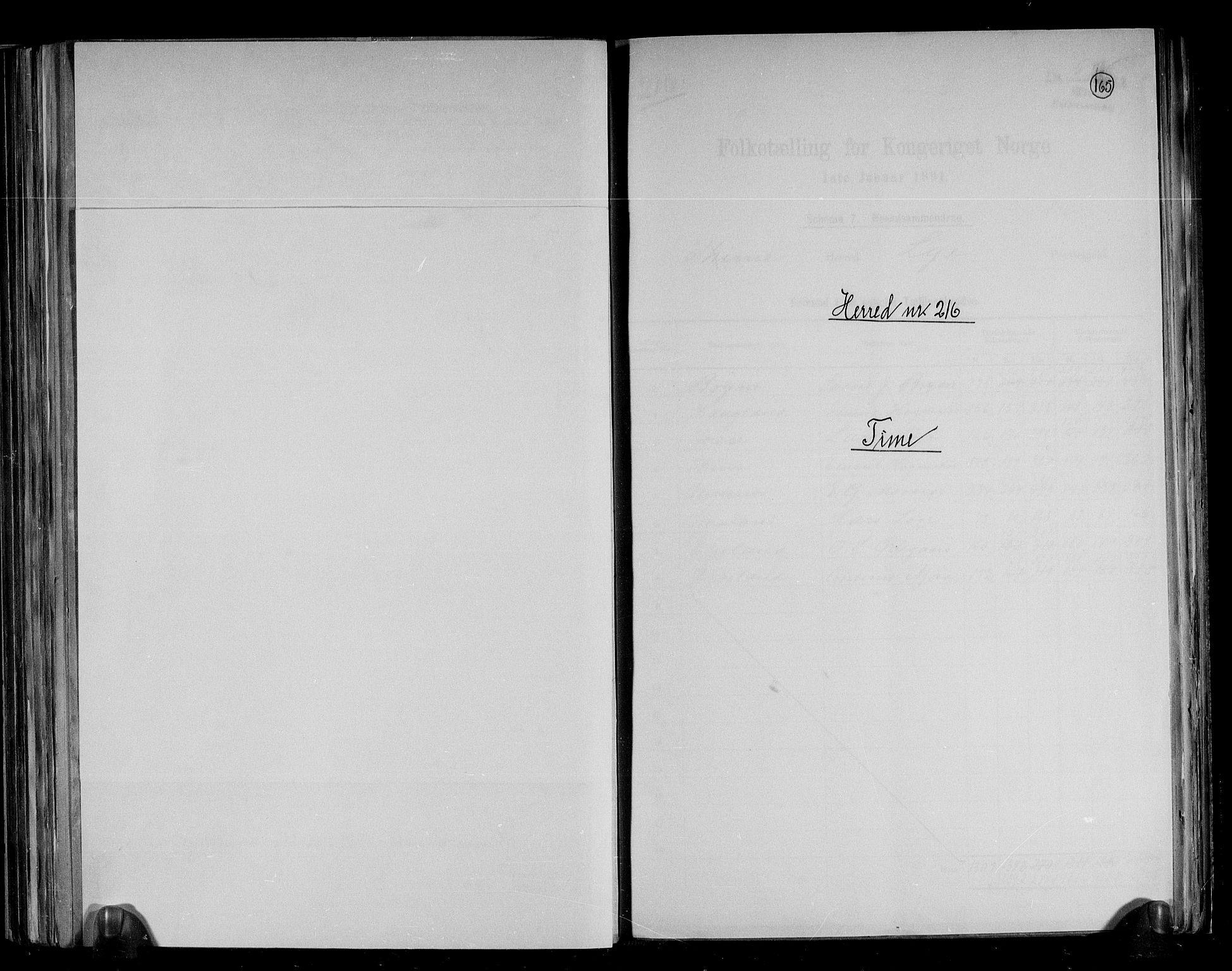 RA, Folketelling 1891 for 1121 Time herred, 1891, s. 1