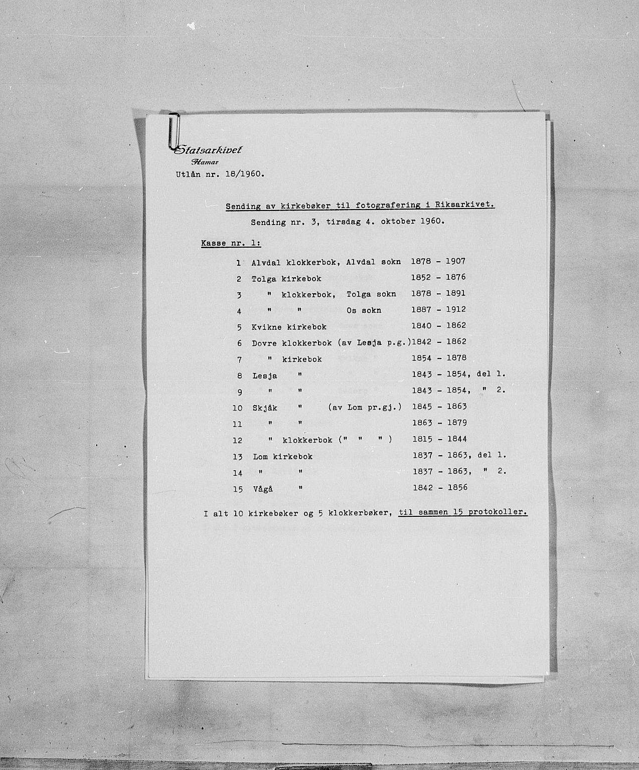 SAH, Lom prestekontor, L/L0004: Klokkerbok nr. 4, 1845-1864