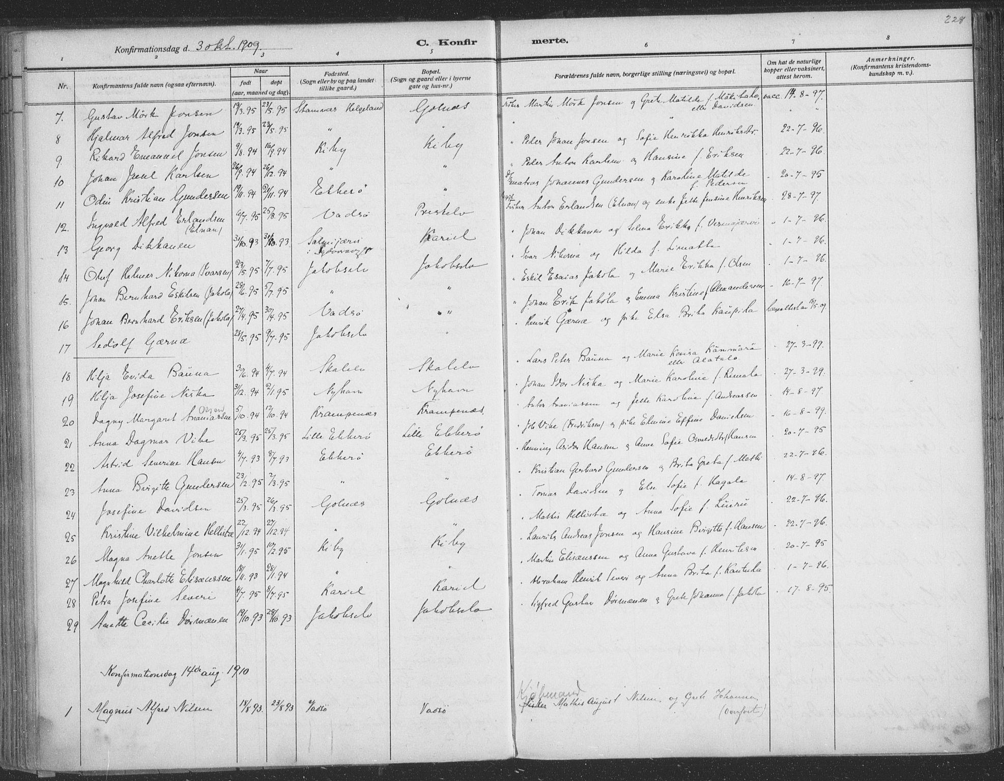SATØ, Vadsø sokneprestkontor, H/Ha/L0009kirke: Ministerialbok nr. 9, 1881-1917, s. 228