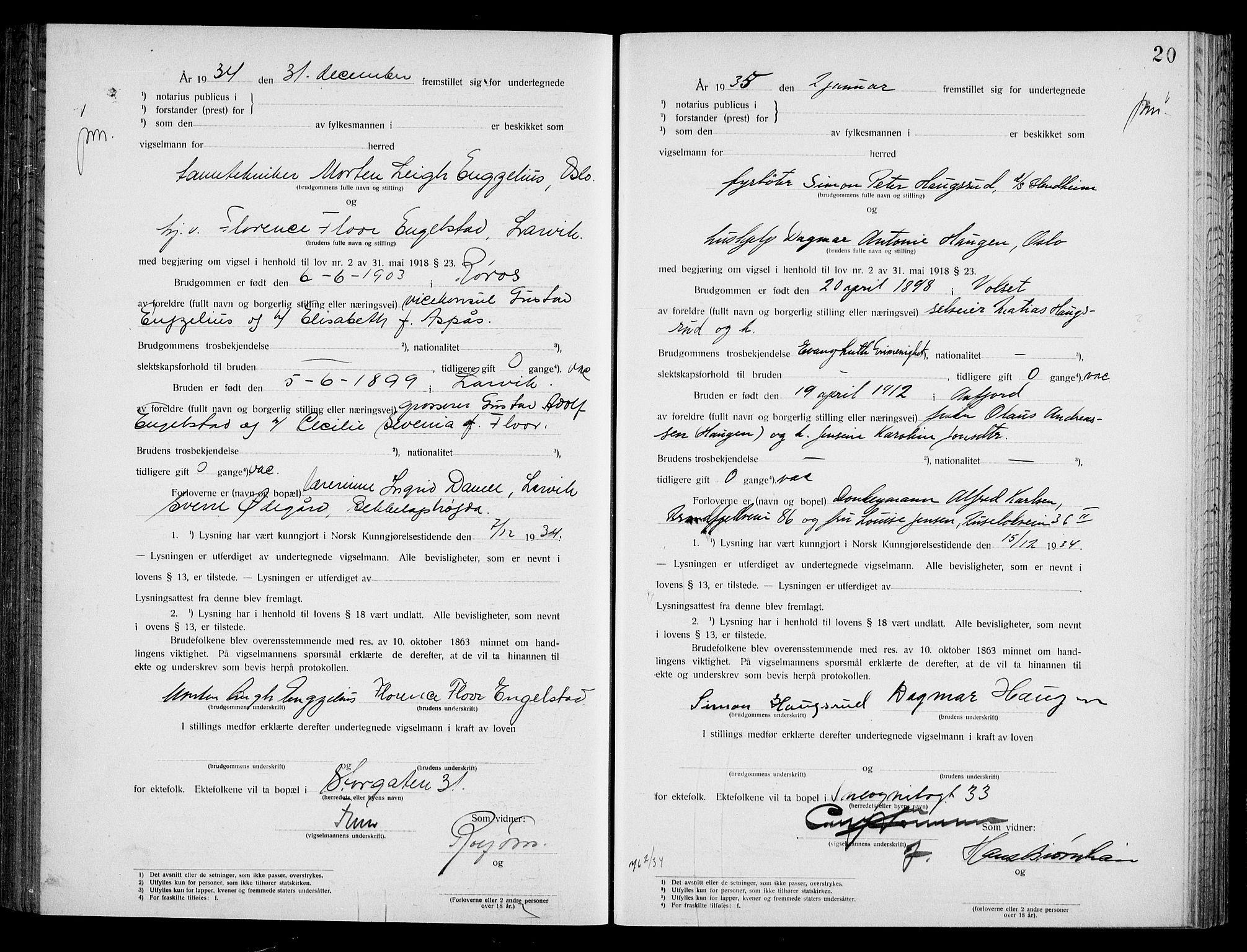 SAO, Oslo byfogd avd. I, L/Lb/Lbb/L0024: Notarialprotokoll, rekke II: Vigsler, 1934-1935, s. 19b-20a