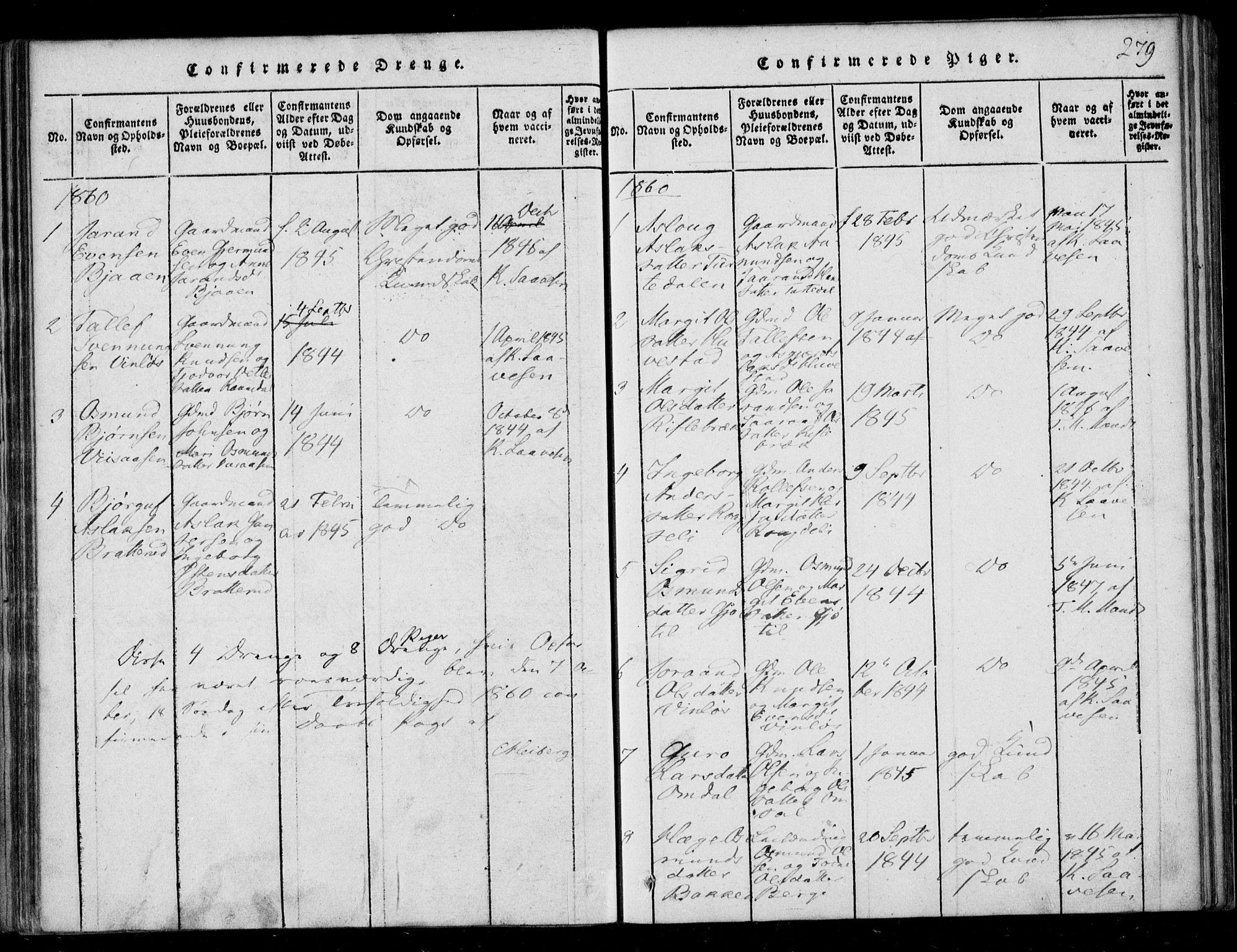 SAKO, Lårdal kirkebøker, F/Fb/L0001: Ministerialbok nr. II 1, 1815-1860, s. 279
