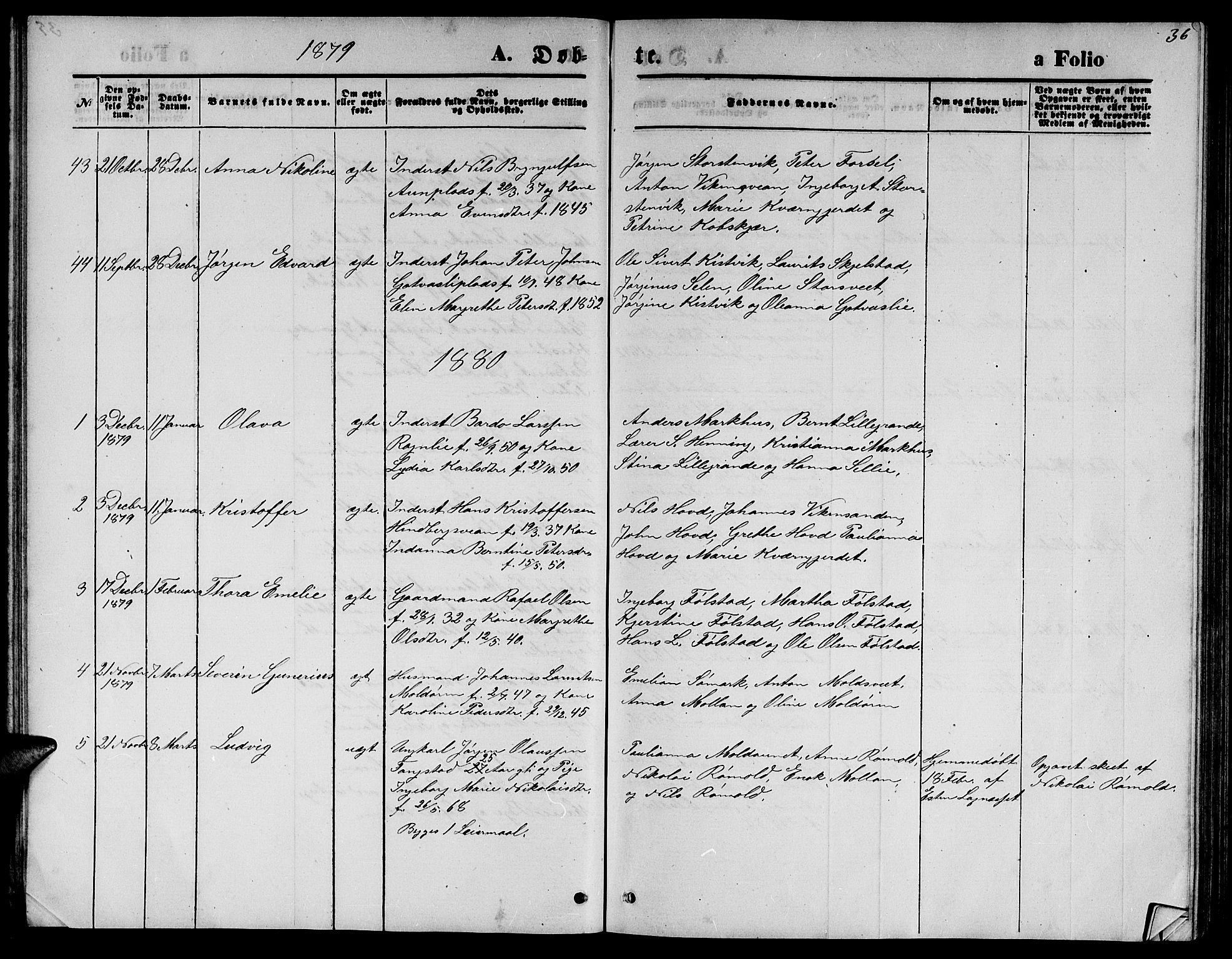 SAT, Ministerialprotokoller, klokkerbøker og fødselsregistre - Nord-Trøndelag, 744/L0422: Klokkerbok nr. 744C01, 1871-1885, s. 36