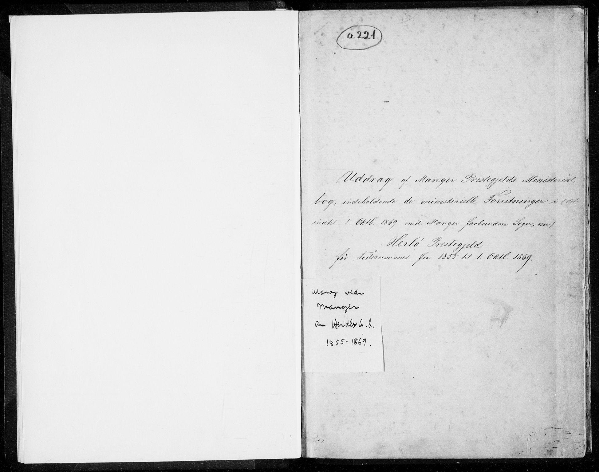 SAB, Herdla Sokneprestembete, H/Haa: Ministerialbok nr. A 1, 1855-1869, s. 1