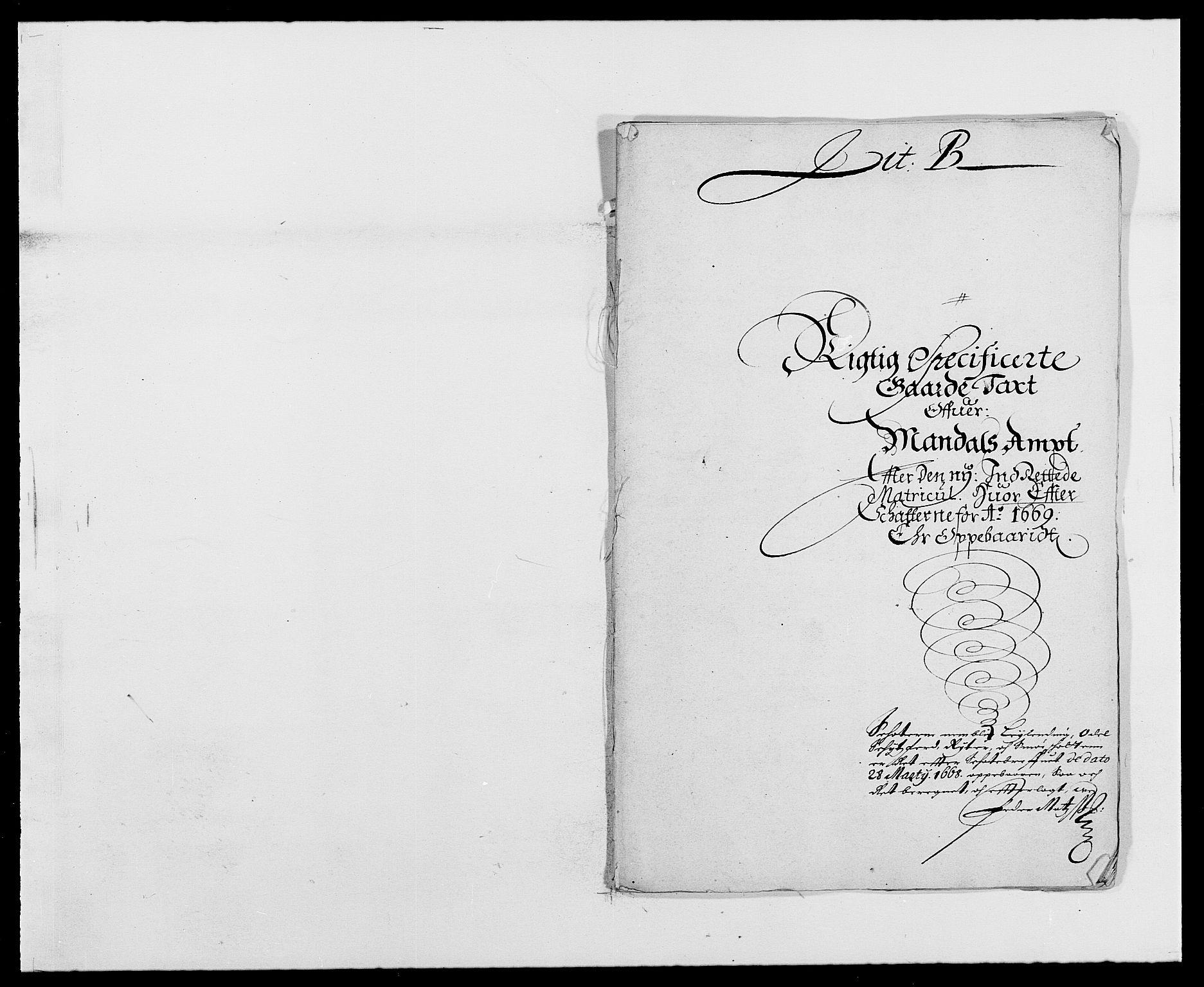 RA, Rentekammeret inntil 1814, Reviderte regnskaper, Fogderegnskap, R42/L2538: Mandal fogderi, 1667-1670, s. 192